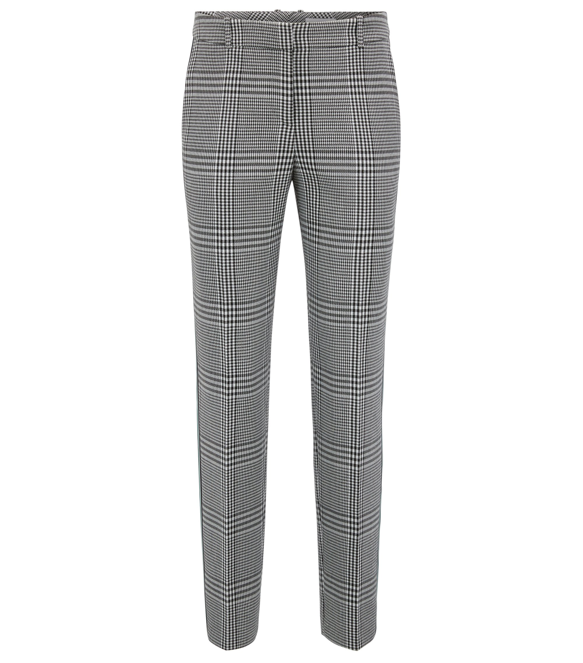 Tapered pants in Glen-check fabric with striped taping, Patterned