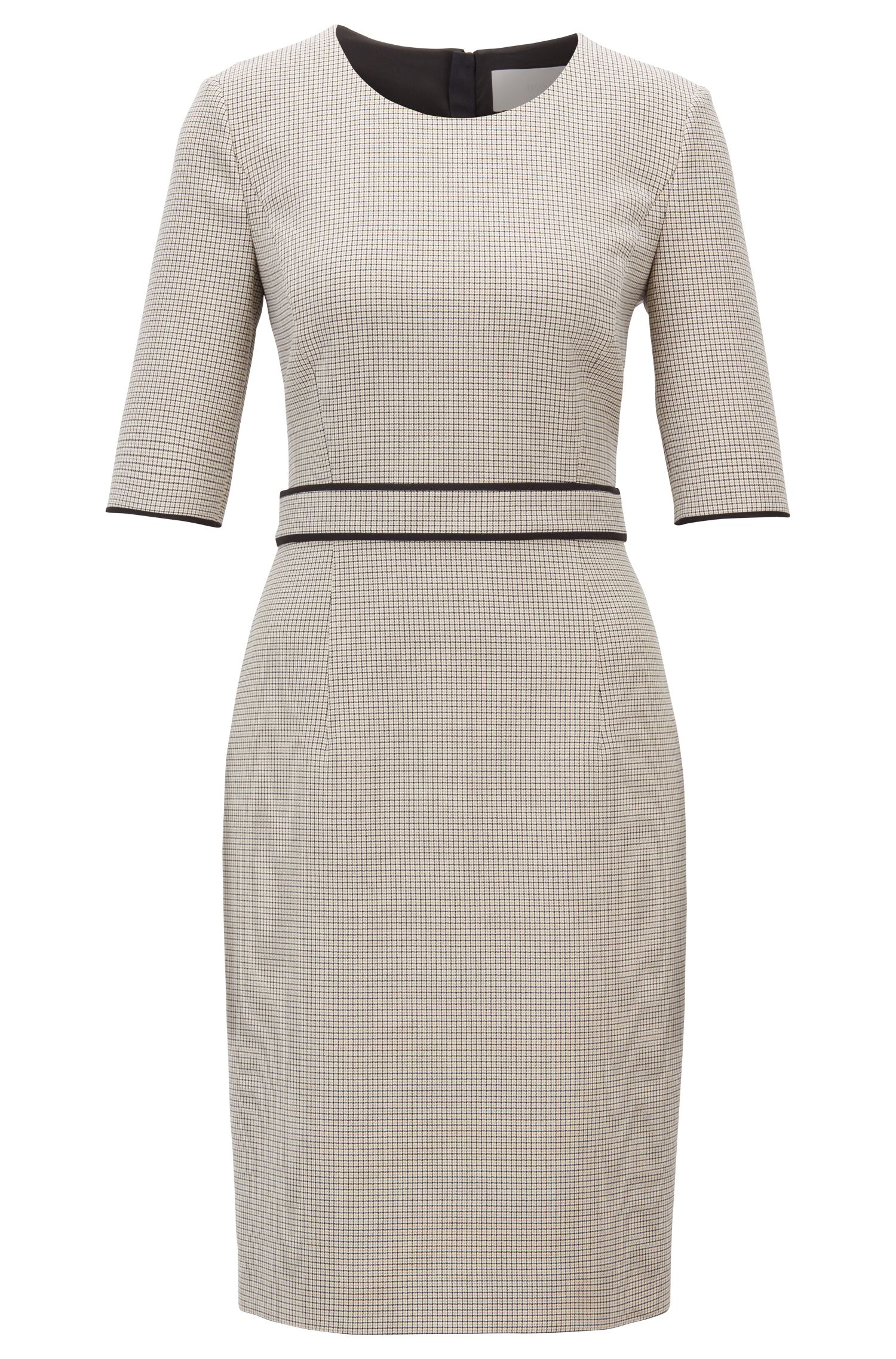 Checked dress in stretch fabric with cropped sleeves, Patterned