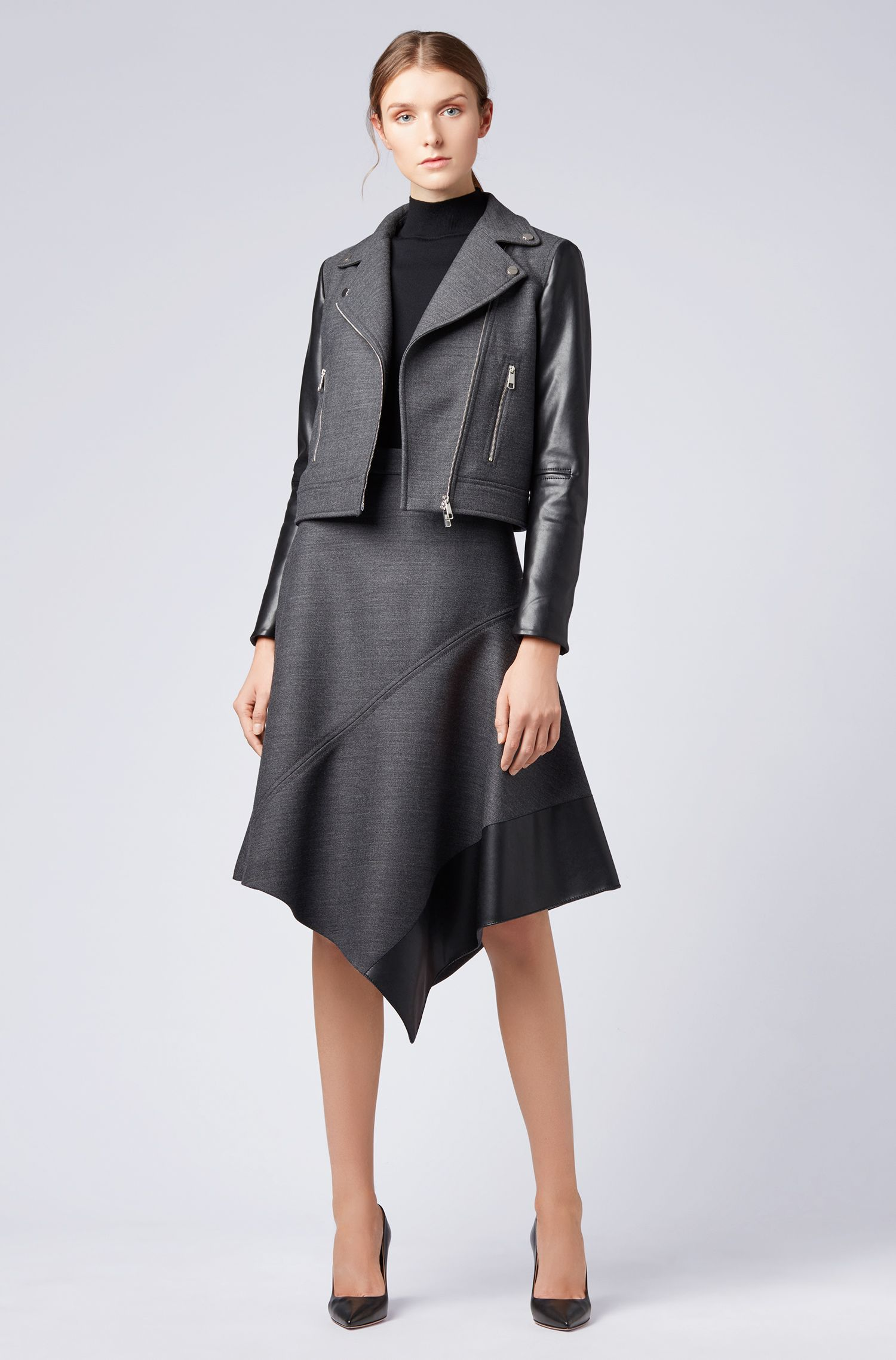 Biker jacket in virgin wool with faux-leather sleeves, Charcoal