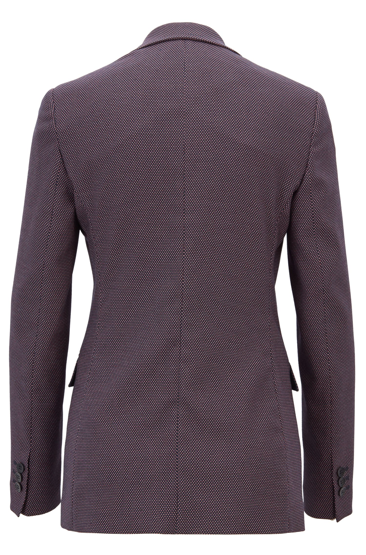 Long-length blazer in micro-dot stretch fabric, Patterned