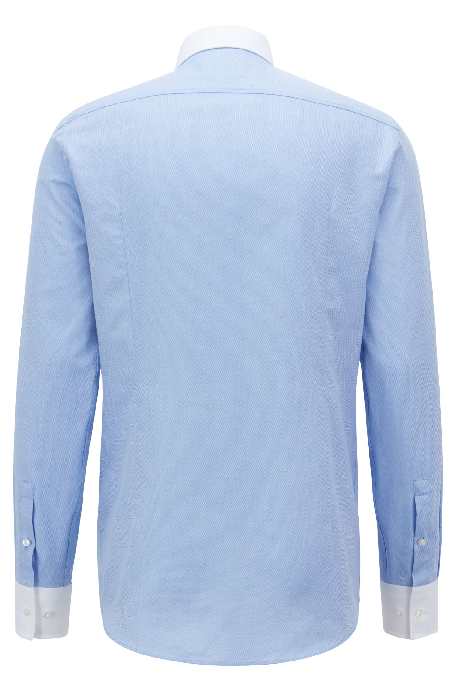 Slim-fit shirt with contrast collar and cuffs, Light Blue