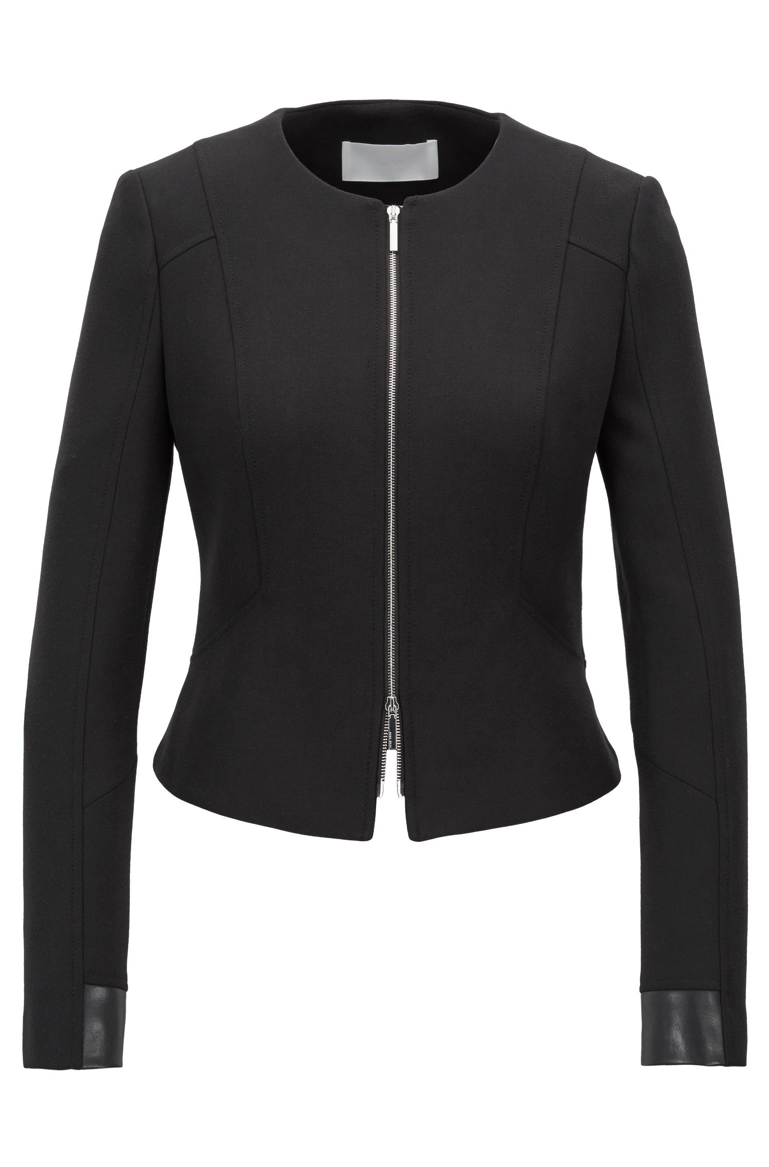 Cropped blazer in stretch crepe with faux-leather patchwork, Black