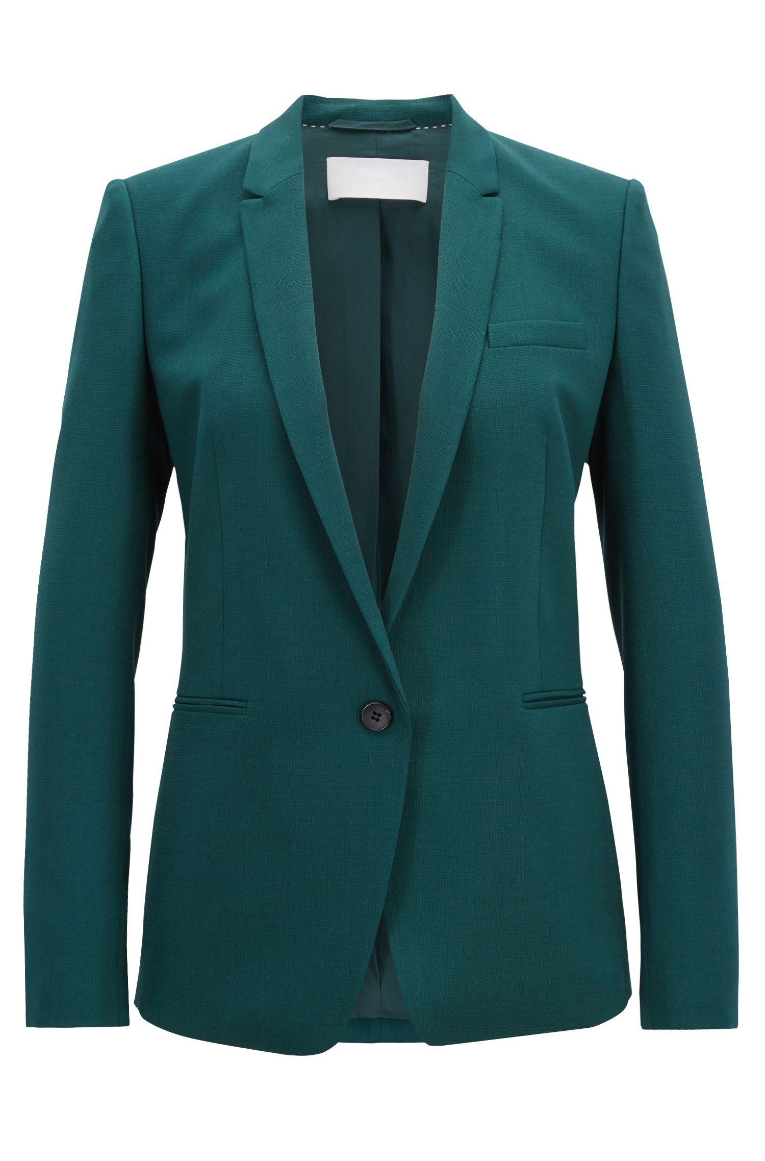 Regular-fit single-button jacket in stretch virgin wool, Open Green