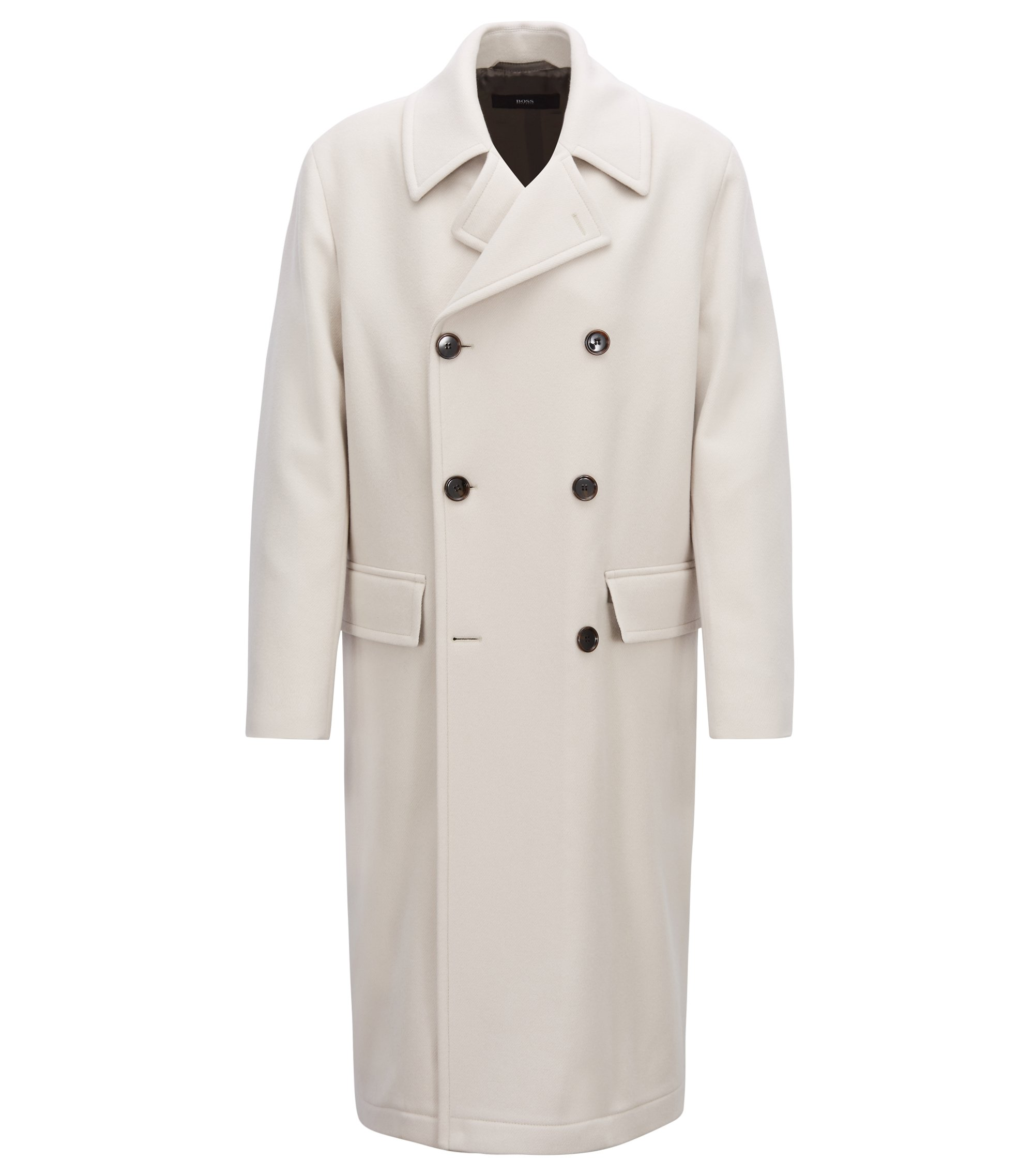 Relaxed-fit double-breasted coat in virgin wool, Natural