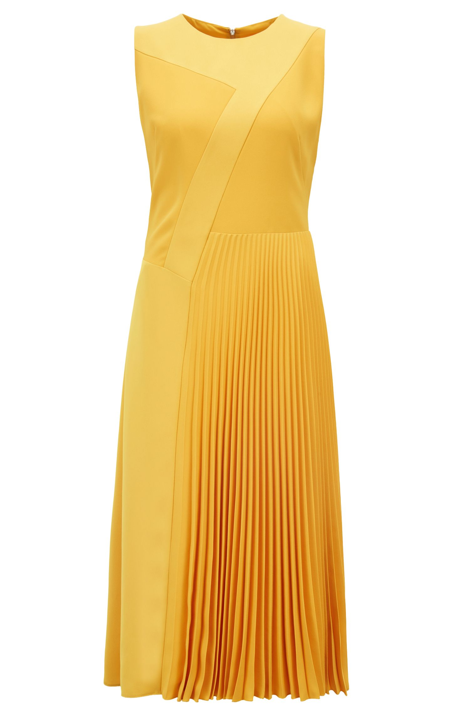 Patchwork midi dress in crepe with plissé skirt detail, Yellow