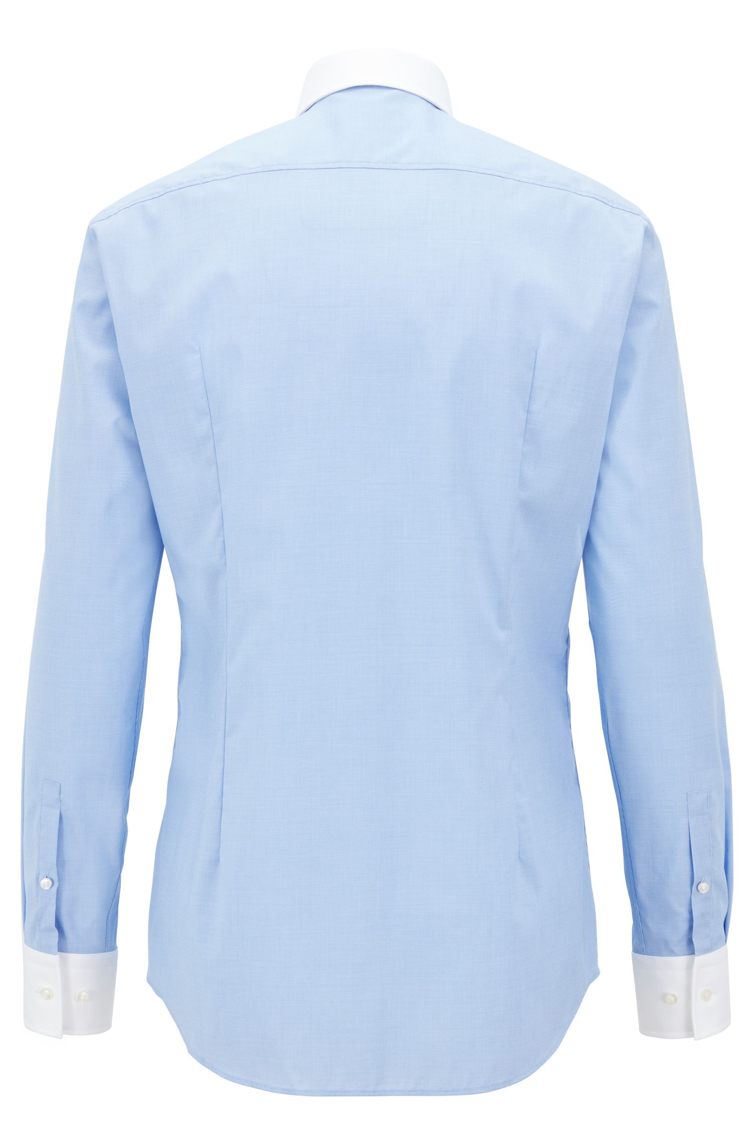 Slim-fit shirt in easy-iron micro-patterned cotton, Light Blue