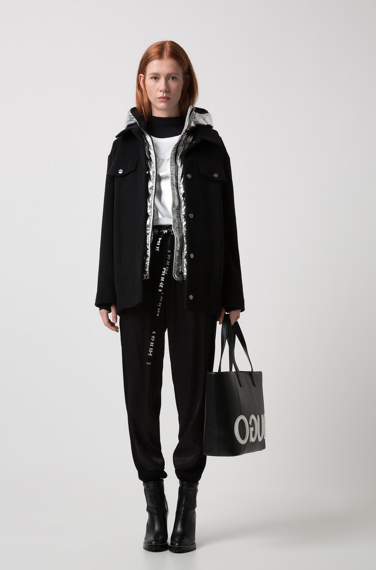 Wool-blend jacket with detachable metallic down-filled gilet, Black