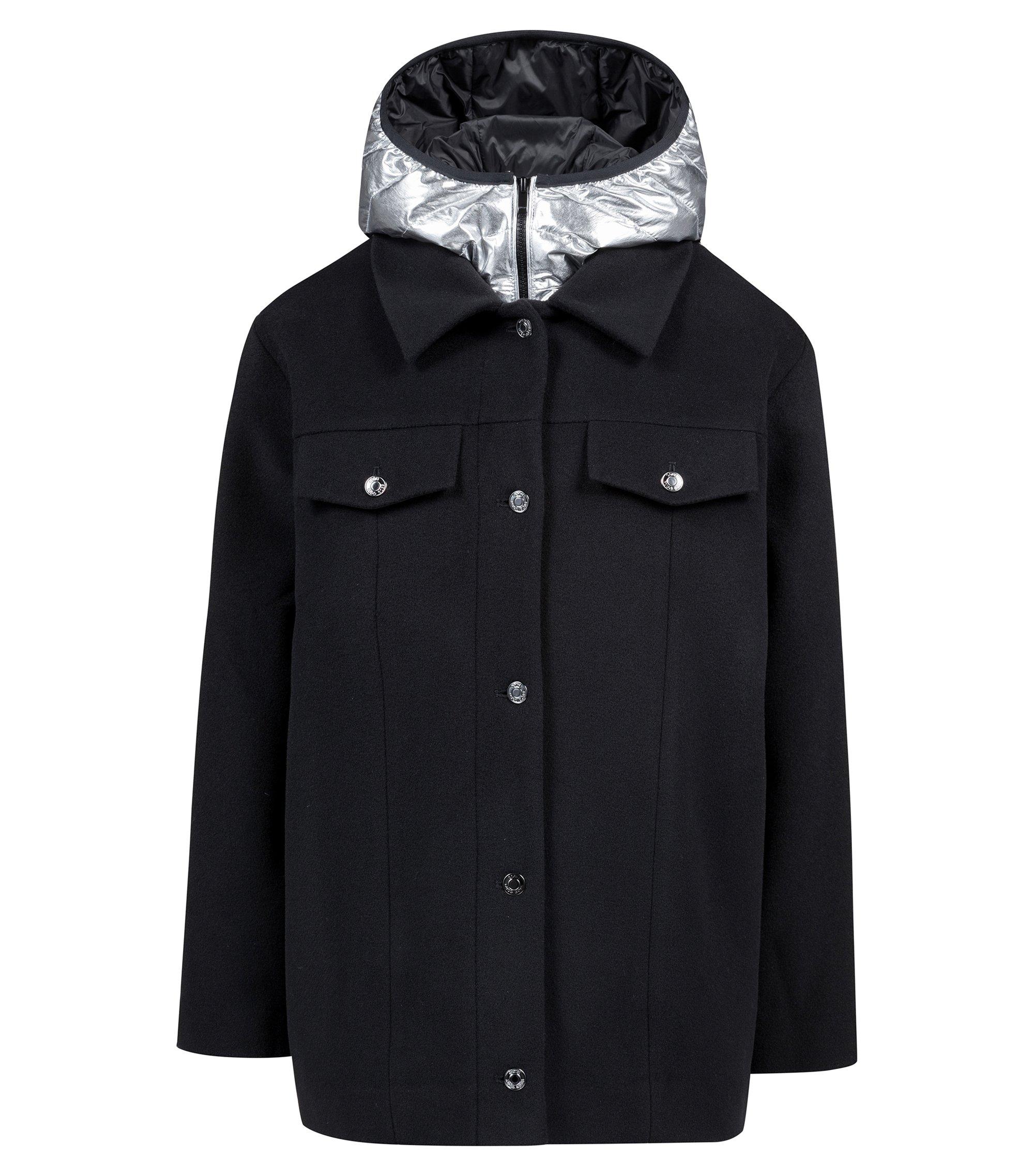 Wool-blend jacket with detachable metallic down-filled gilet, Black