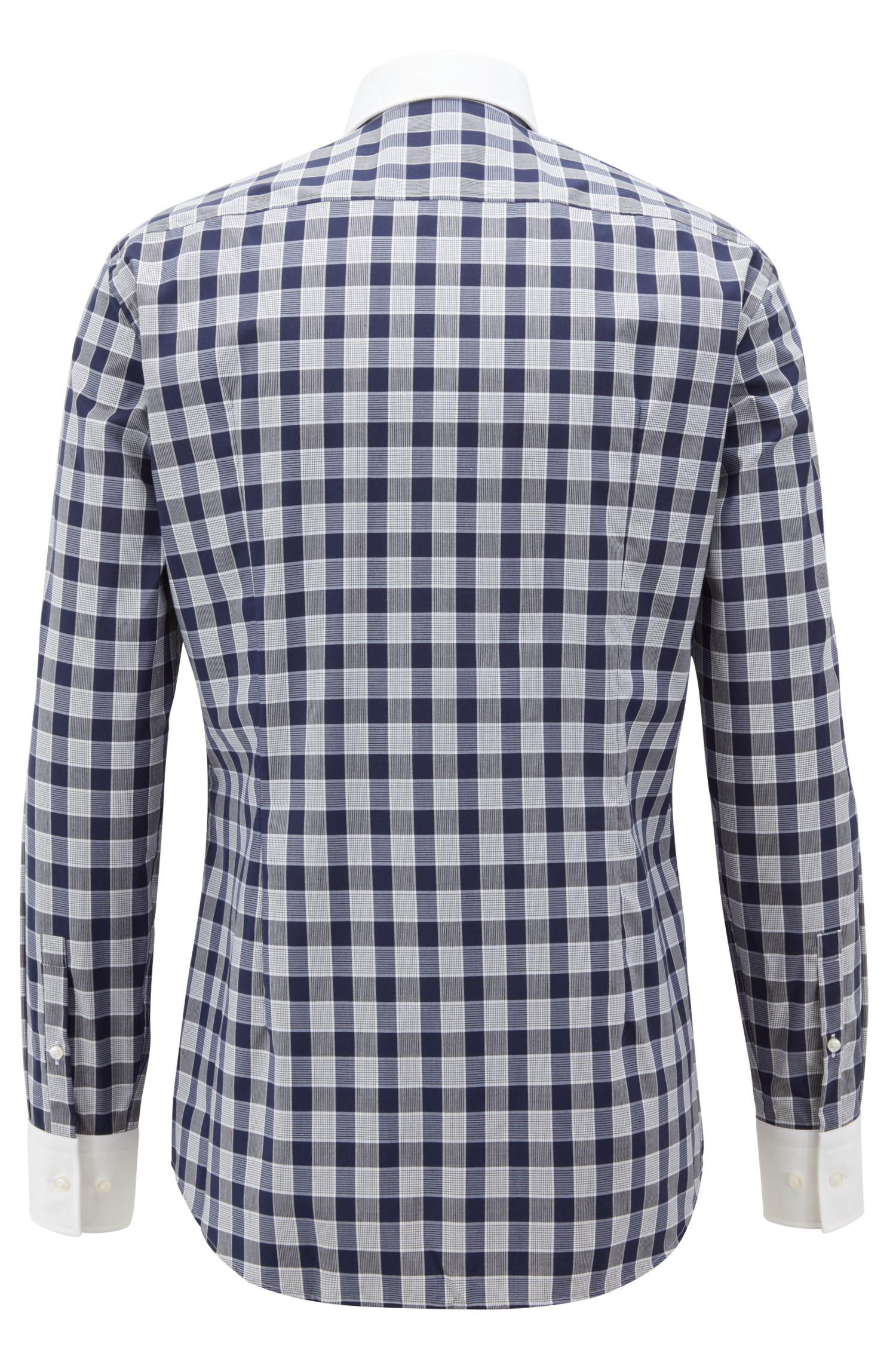 Slim-fit shirt in Vichy check cotton poplin, Dark Blue