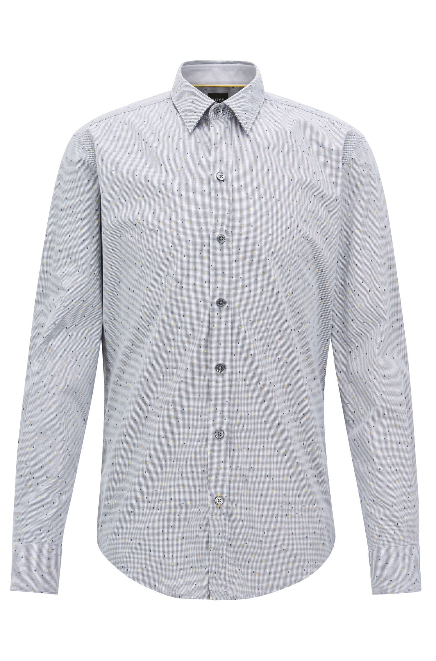 Slim-fit shirt in check and dot dobby cotton, Grey