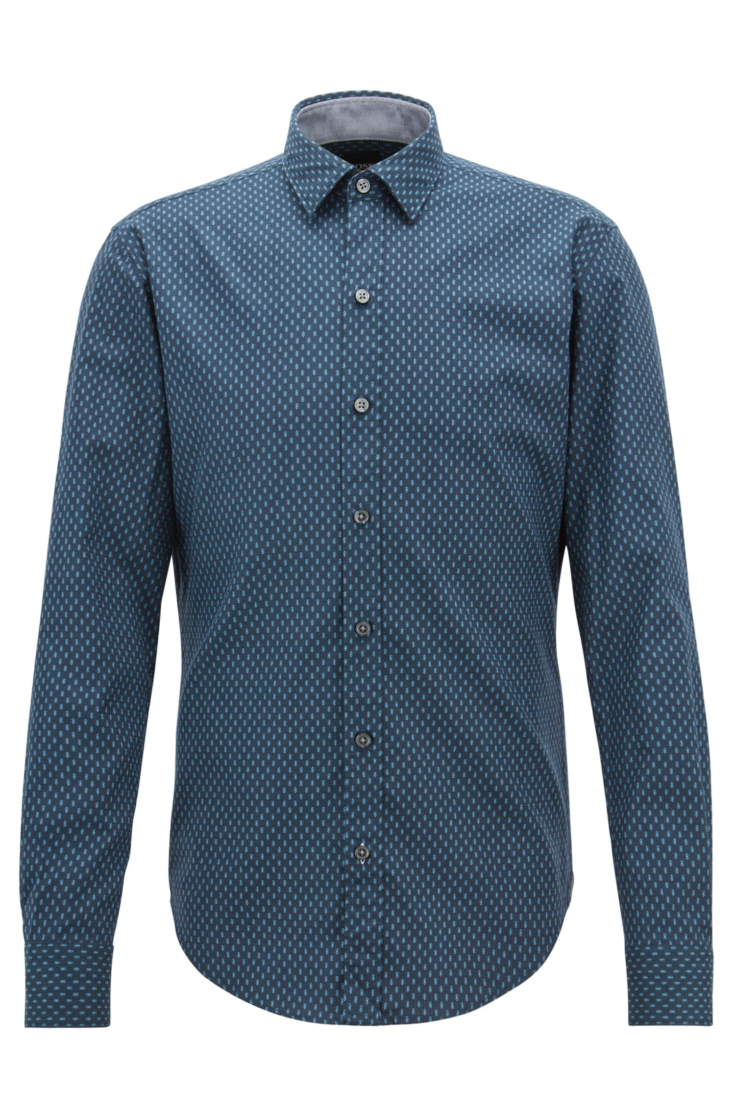 Slim-fit dobby-cotton shirt in an exclusive print, Open Blue