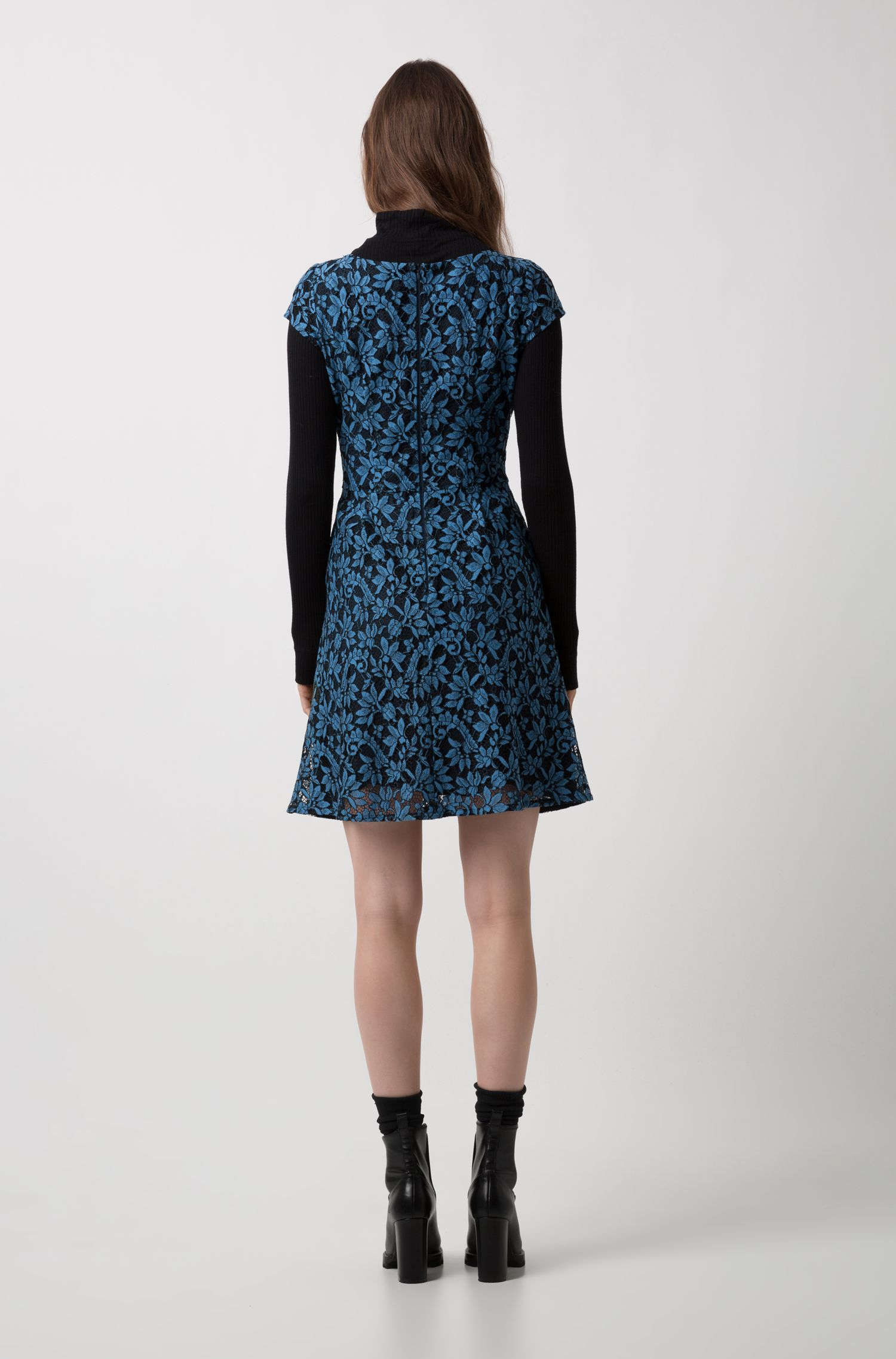 Scoop-neck A-line dress in floral lace, Open Blue