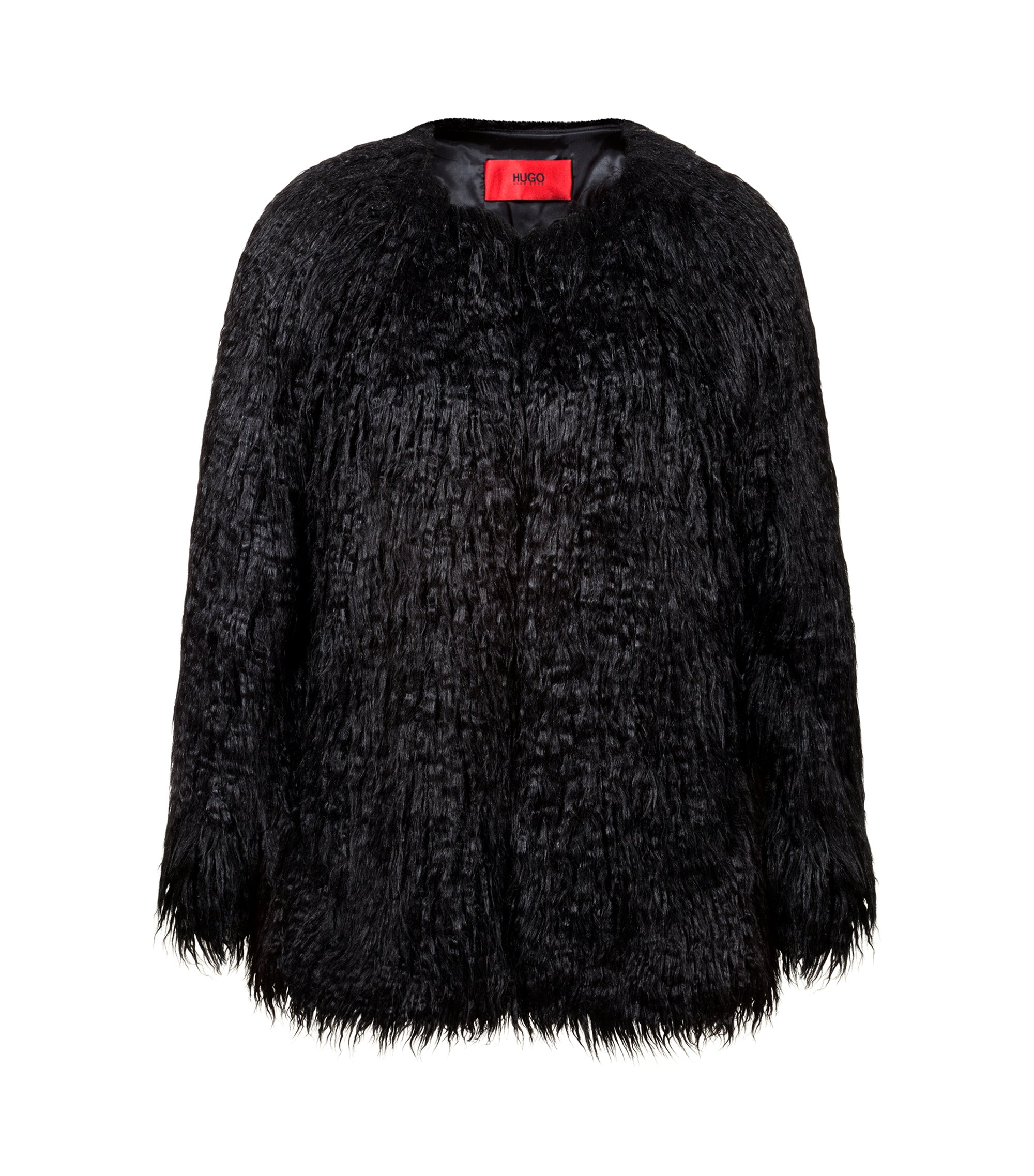 Relaxed-fit jacket in shaggy faux fur, Black