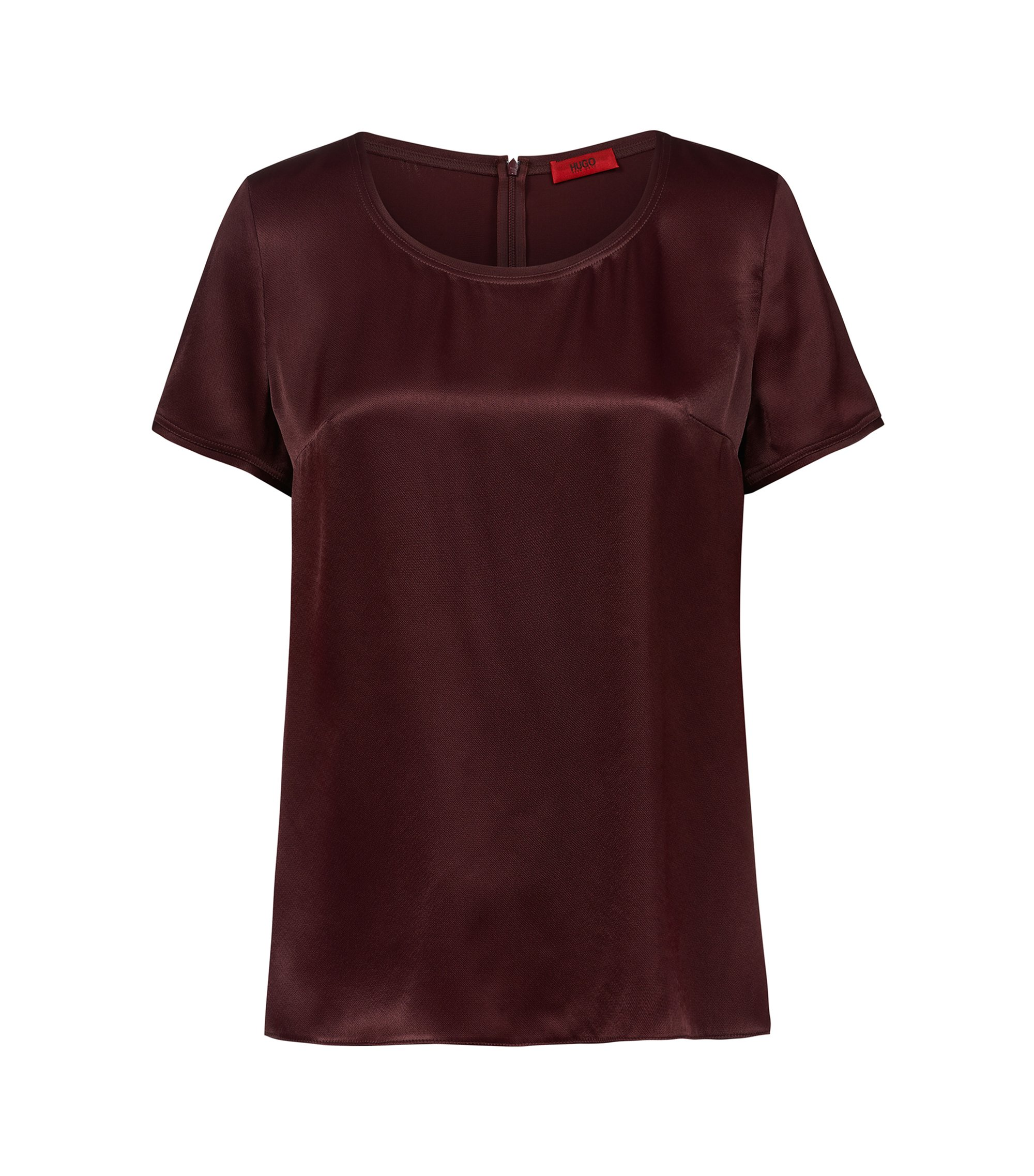 Short-sleeved top in a lustrous fabric, Dark Red