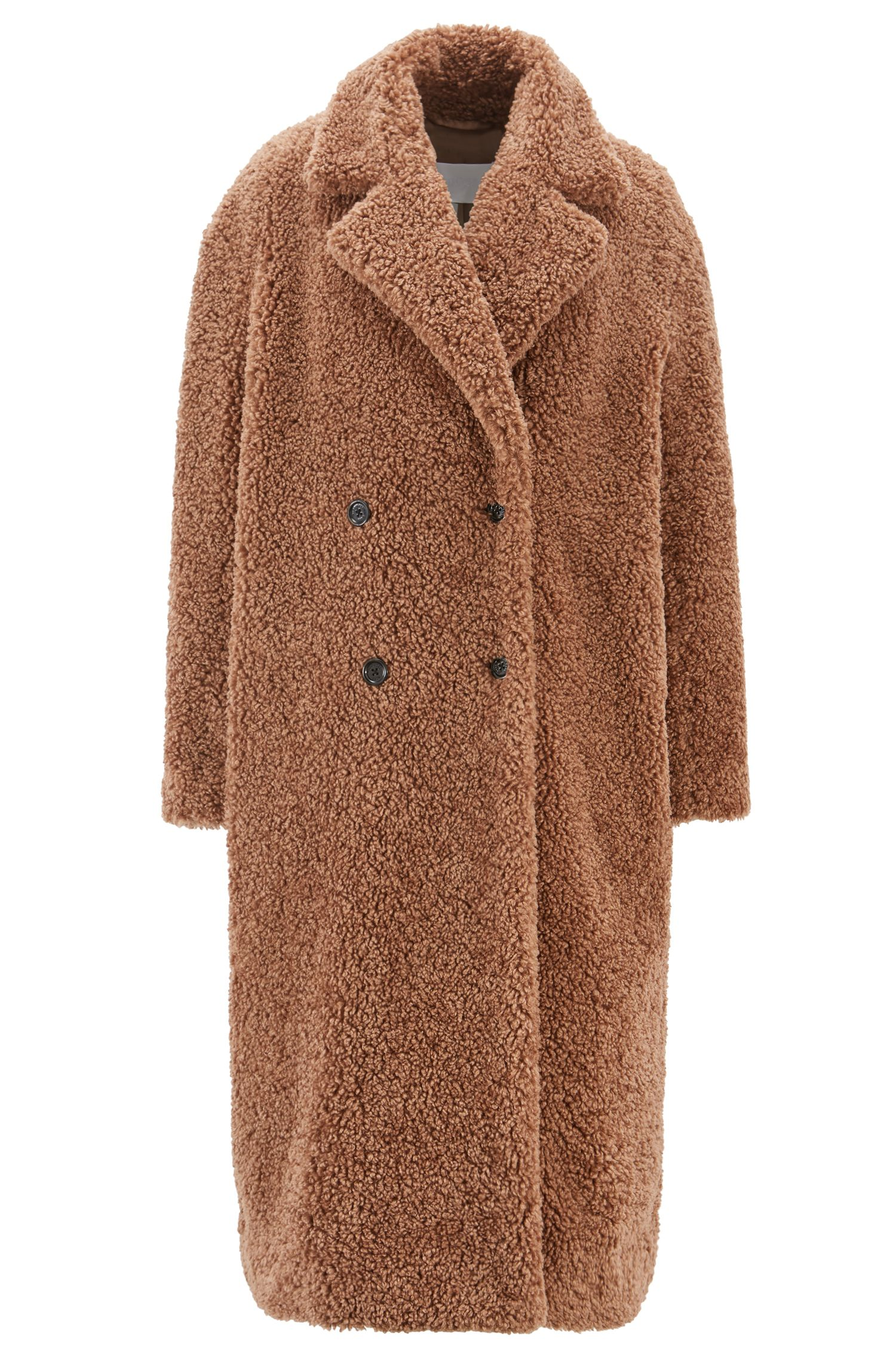 Faux-fur teddy coat with double-breasted front, Brown