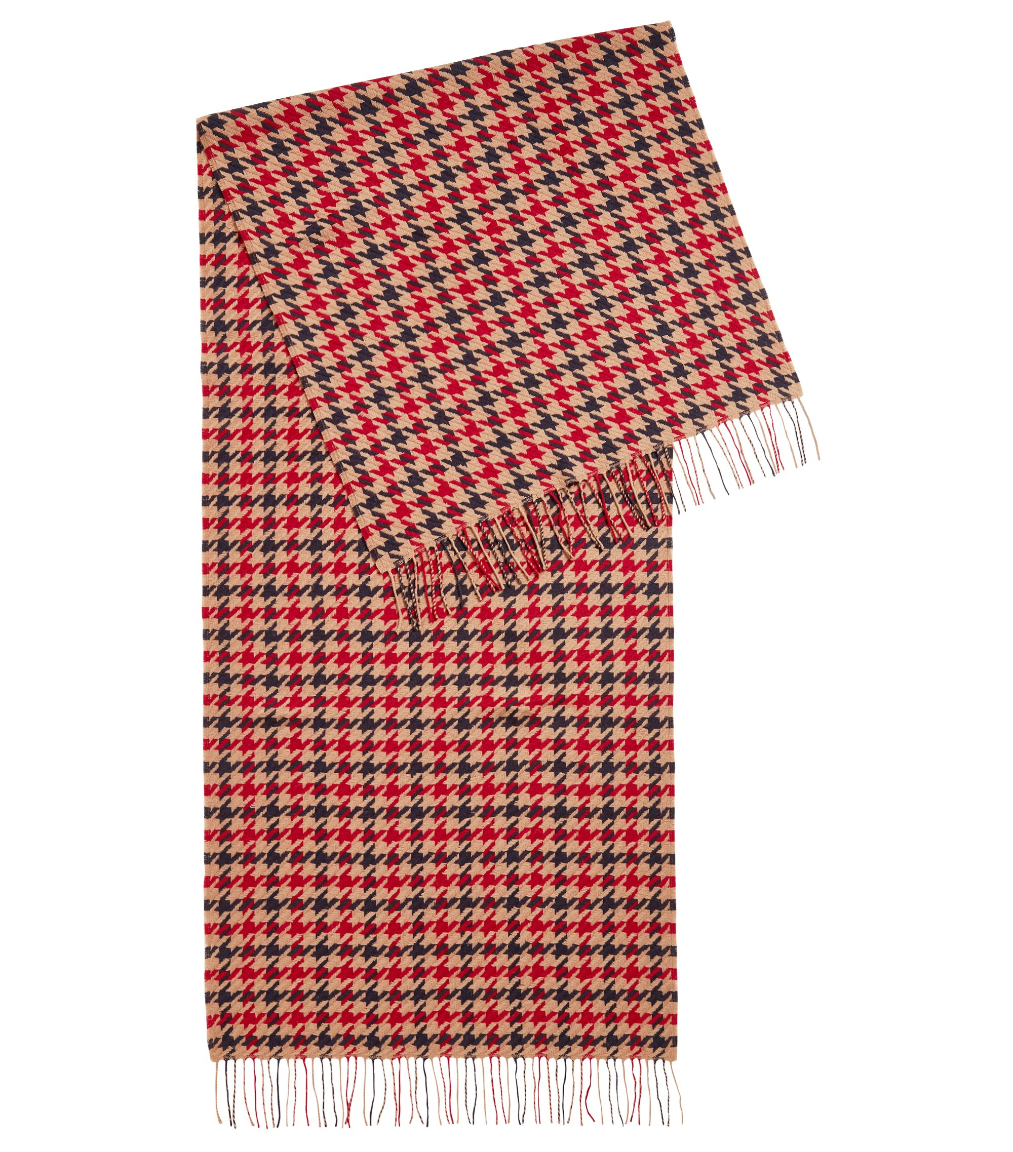 Three-color scarf in virgin wool with houndstooth check pattern, Patterned