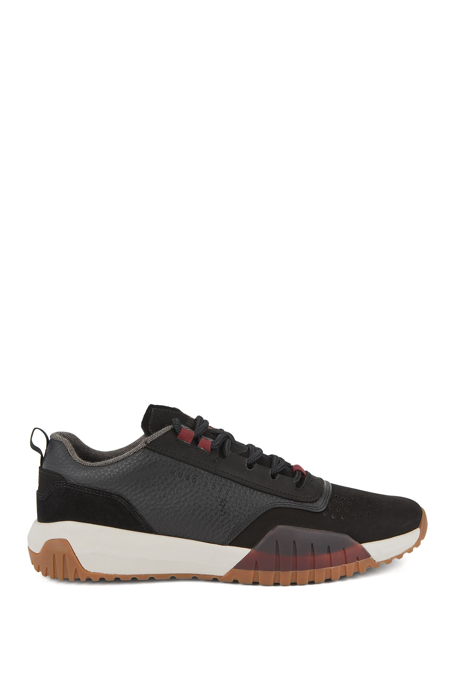 Running-inspired sneakers in nubuck, tumbled and suede leather, Black