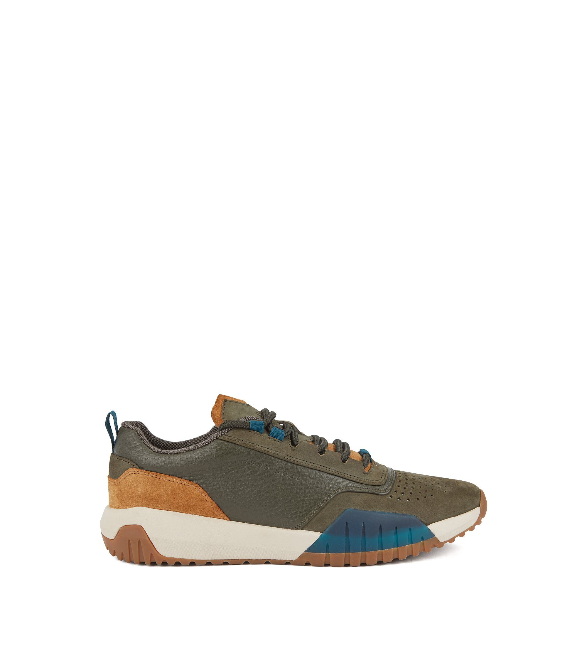 Running-inspired sneakers in nubuck, tumbled and suede leather, Dark Green