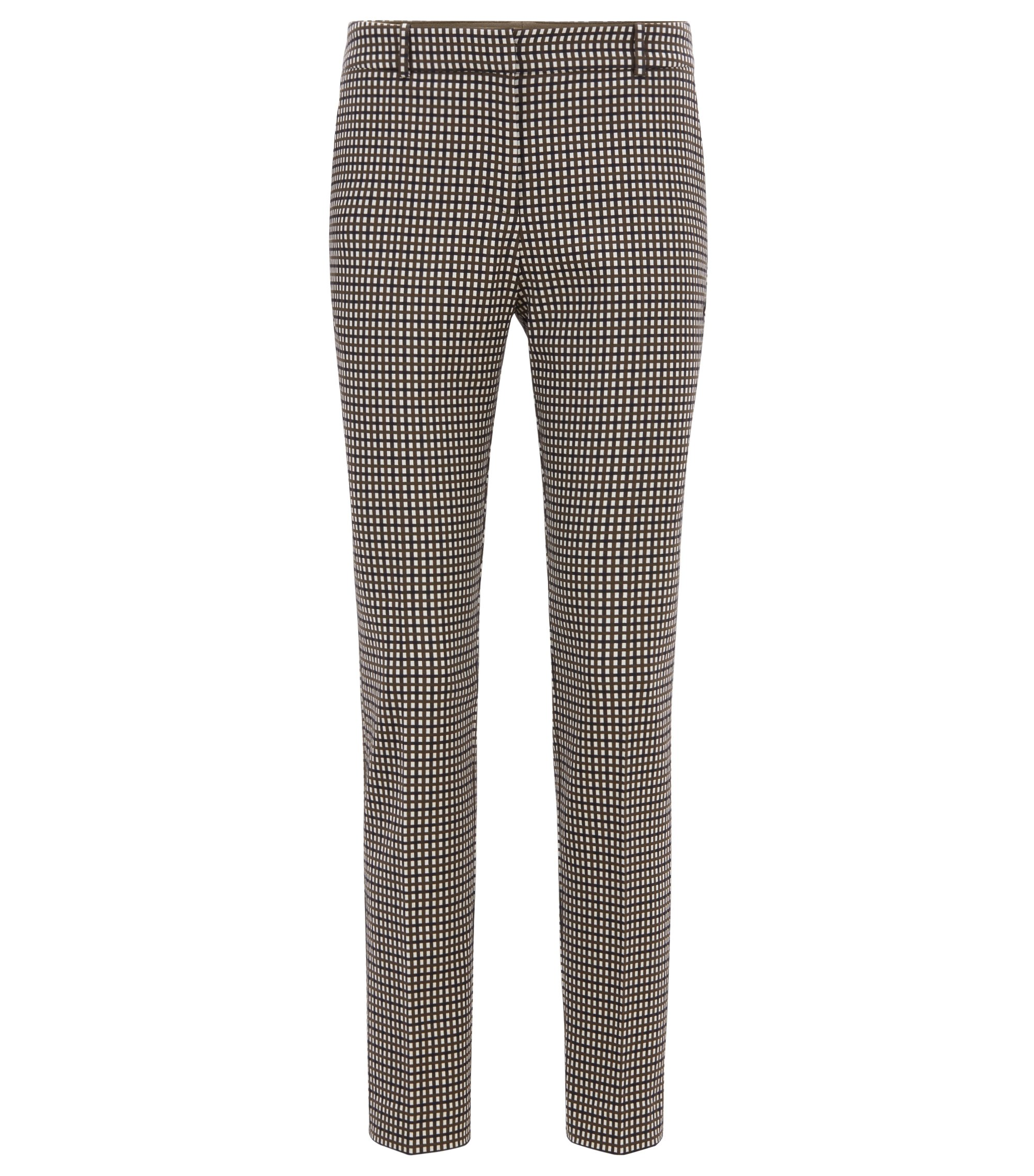 Micro-checked cropped pants in a stretch-cotton blend, Patterned