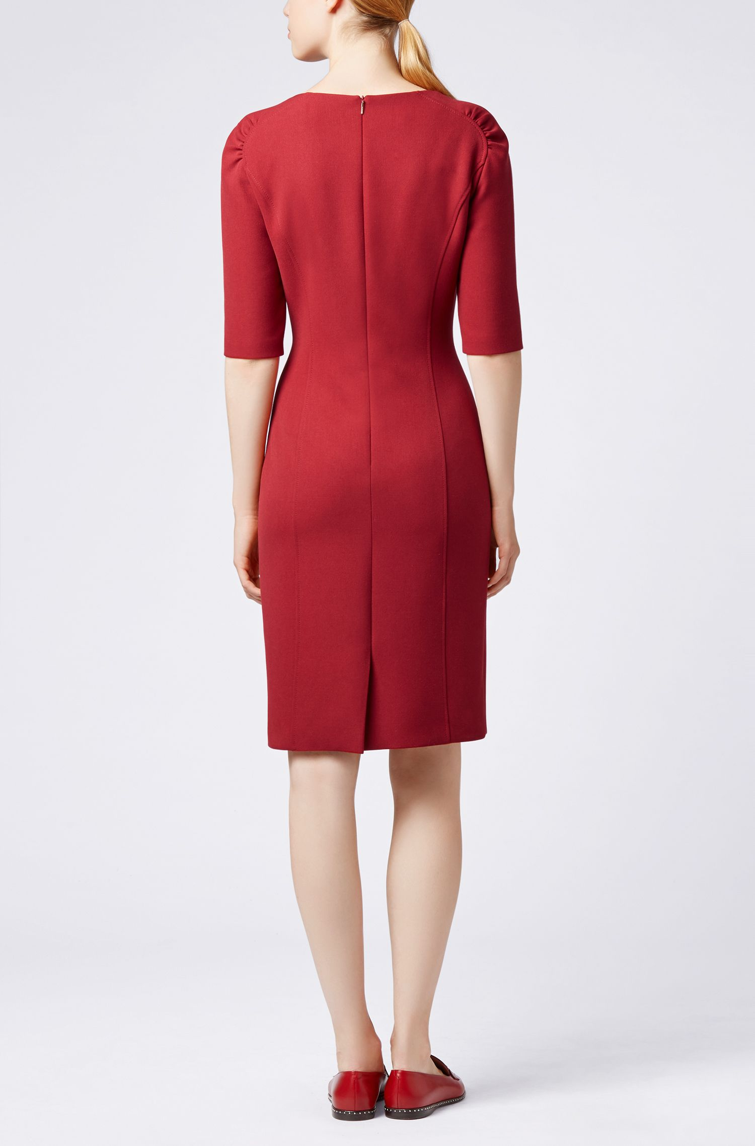 Half-sleeve shift dress in stretch twill, Dark Red
