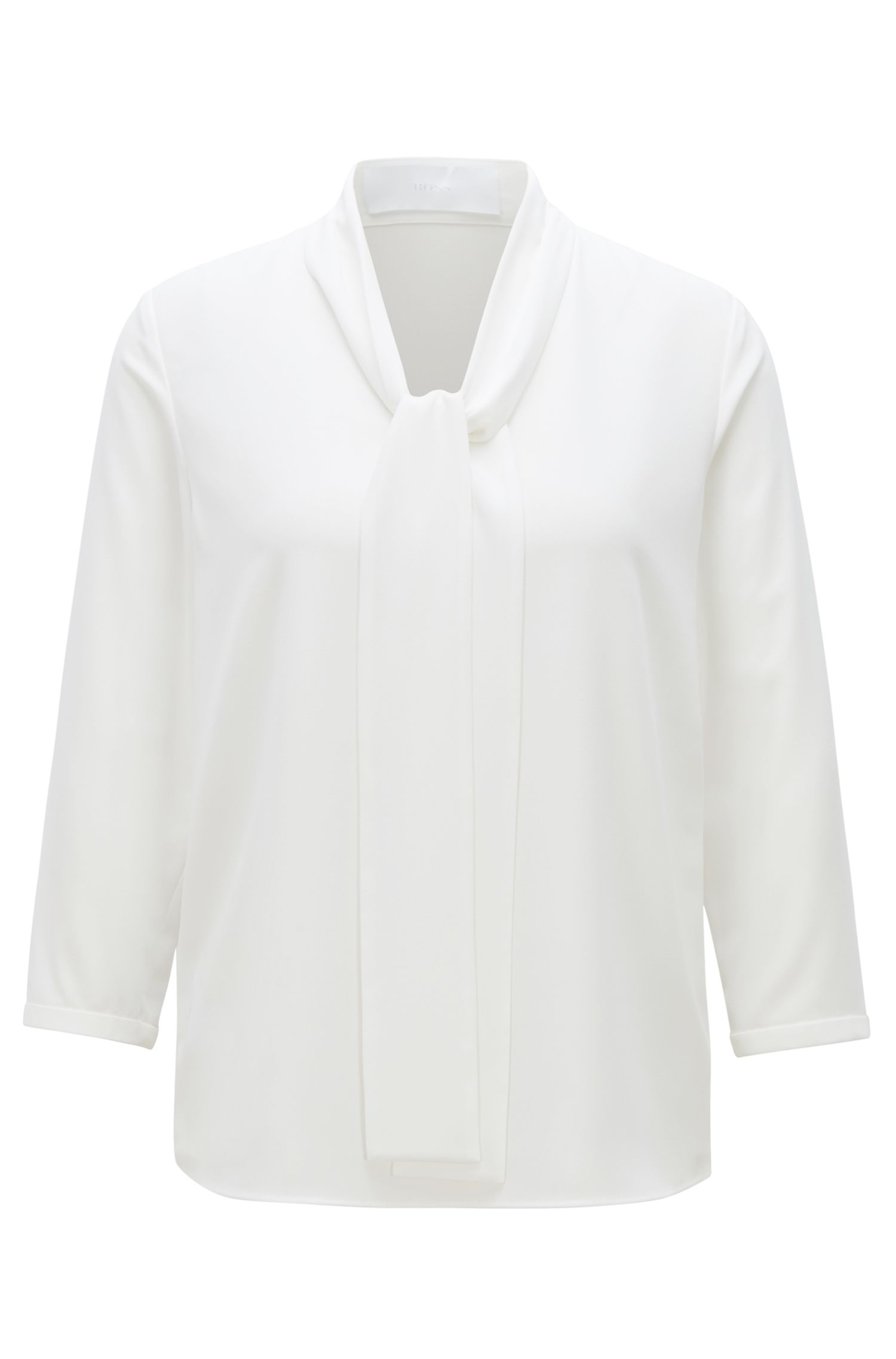 Lightweight blouse in stretch crepe with tie neck, Natural