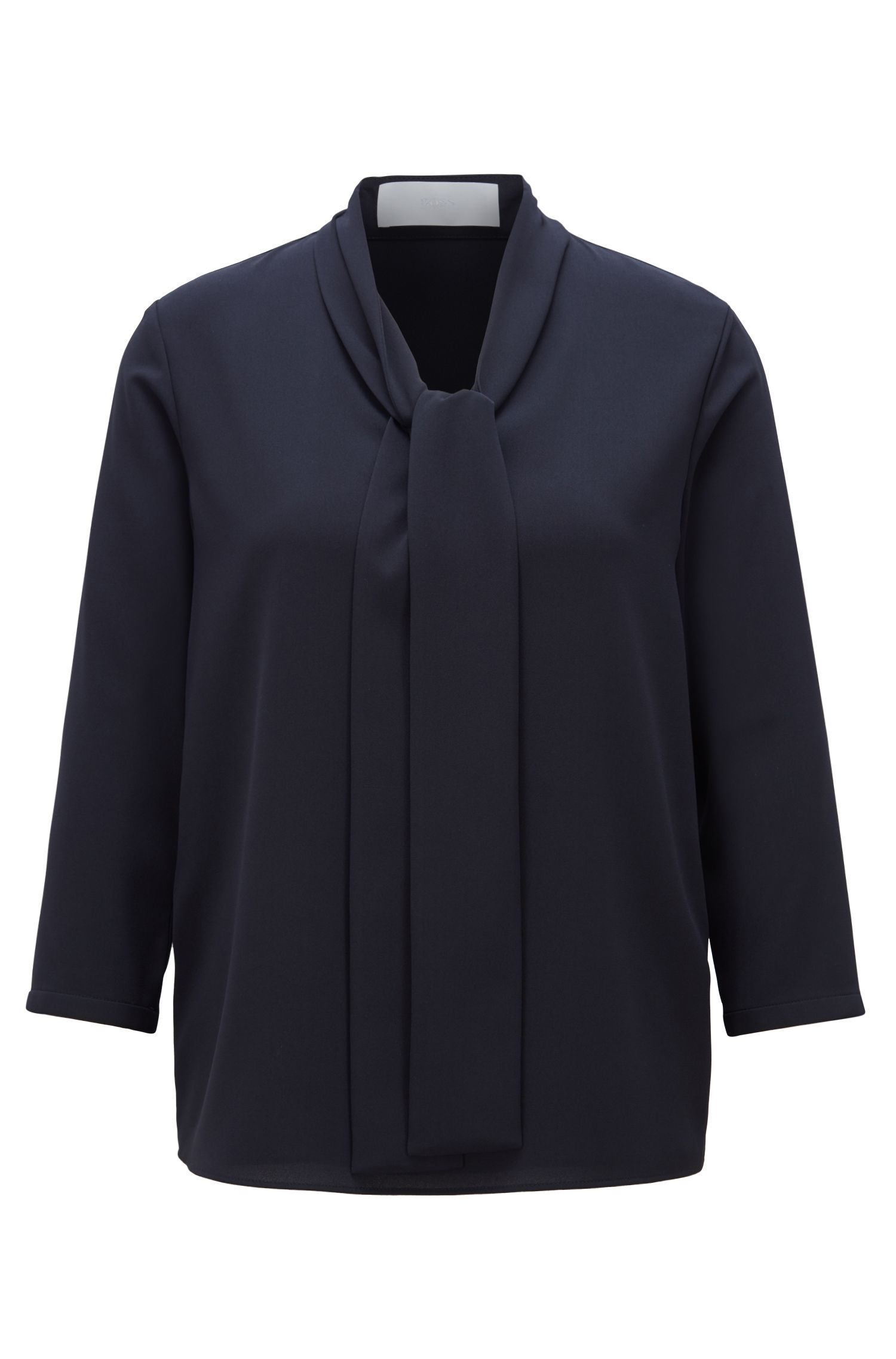 Lightweight blouse in stretch crepe with tie neck, Open Blue
