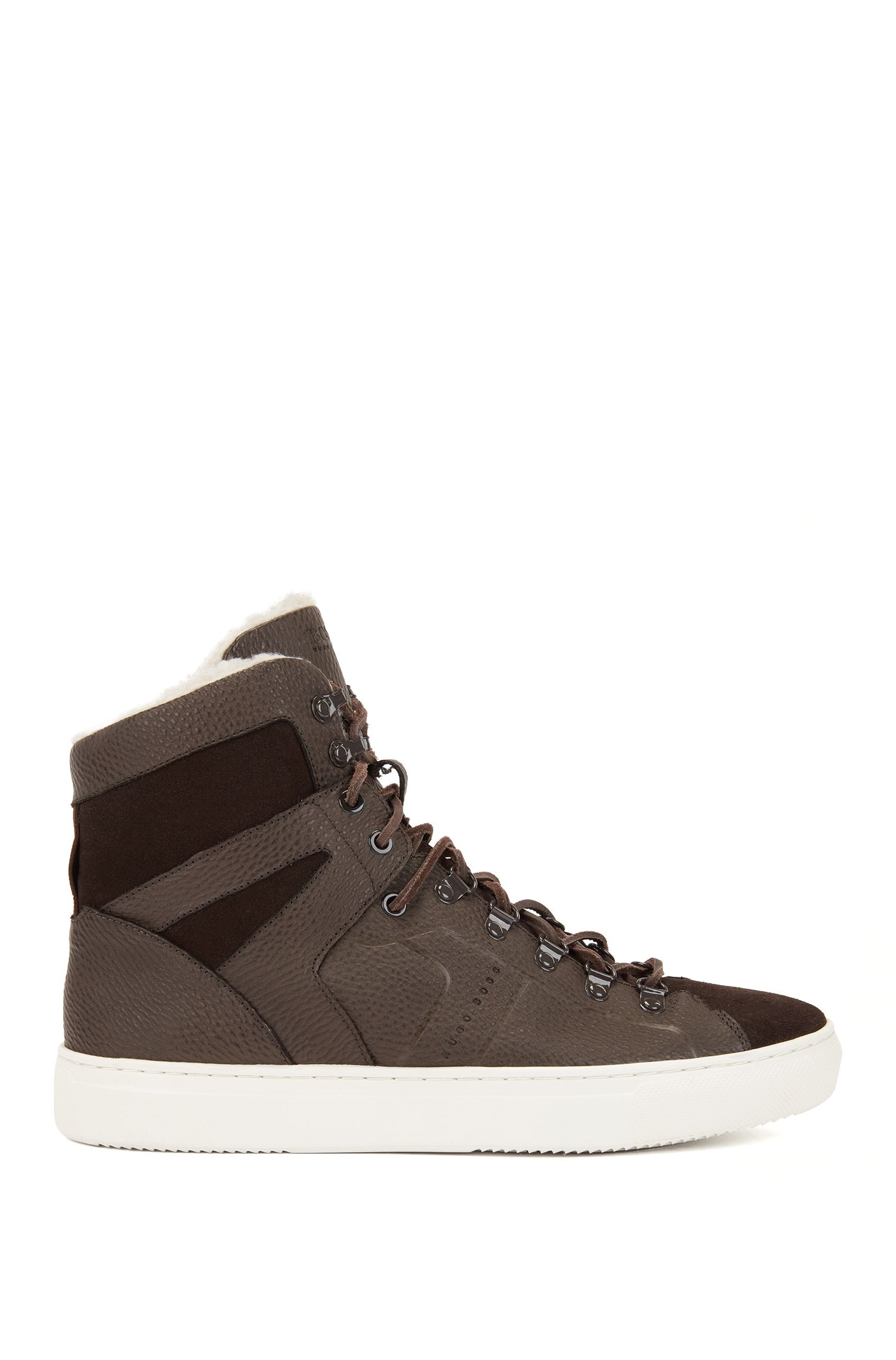 High-top sneakers in leather with faux-fur lining, Dark Brown