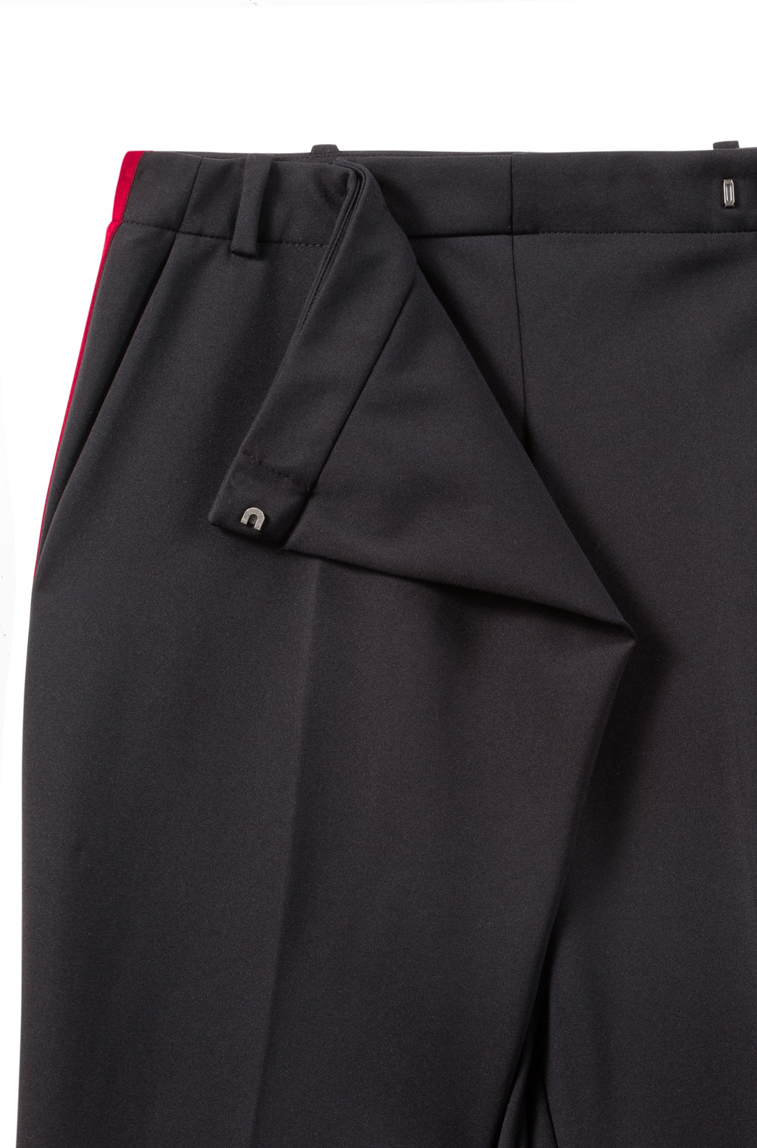 Relaxed-fit pants in stretch fabric with wrap effect, Black