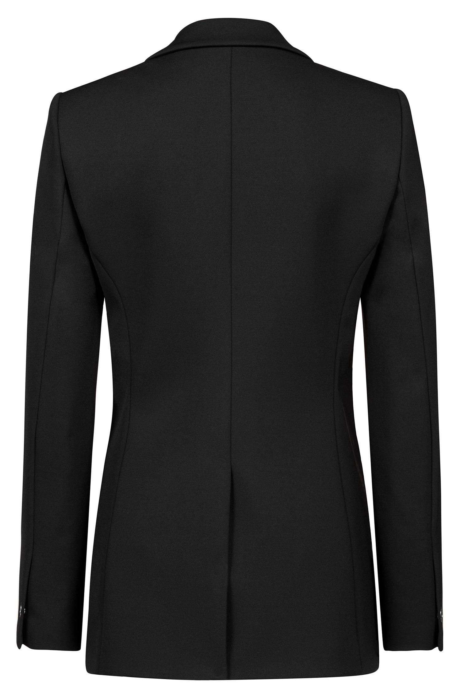 Stretch-jersey jacket with statement ring closure, Black
