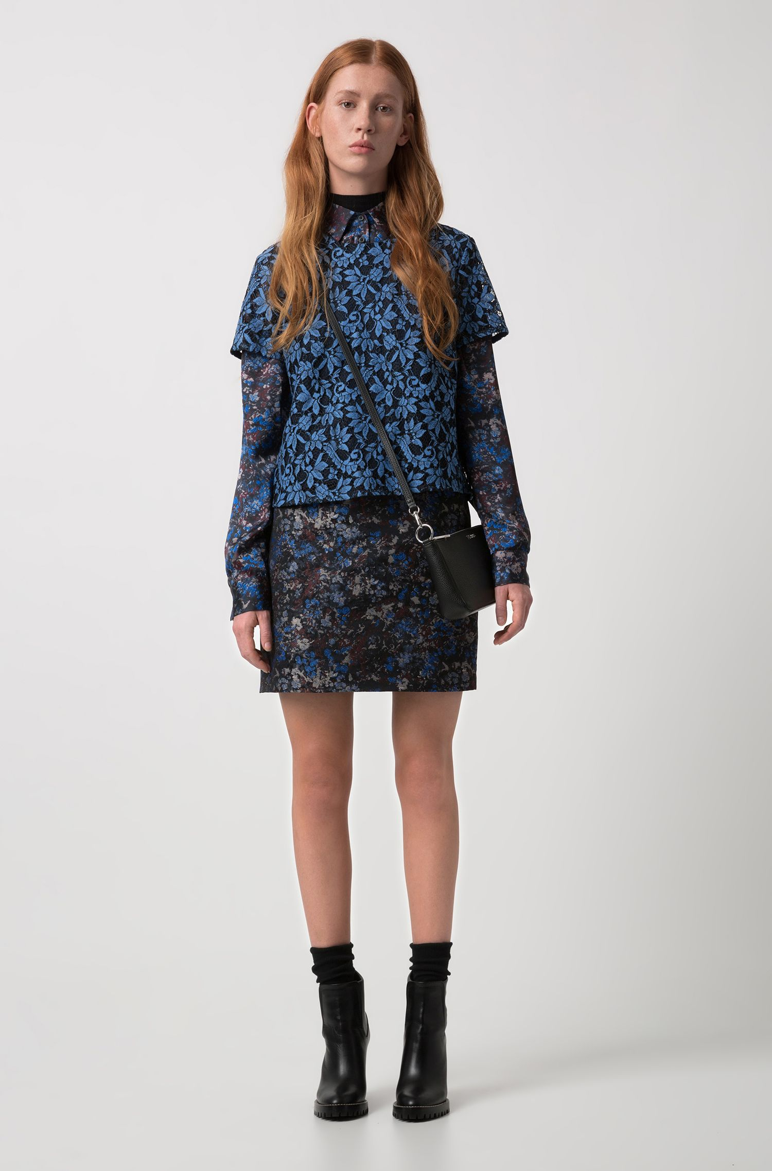 Pencil miniskirt in floral camouflage jacquard, Patterned
