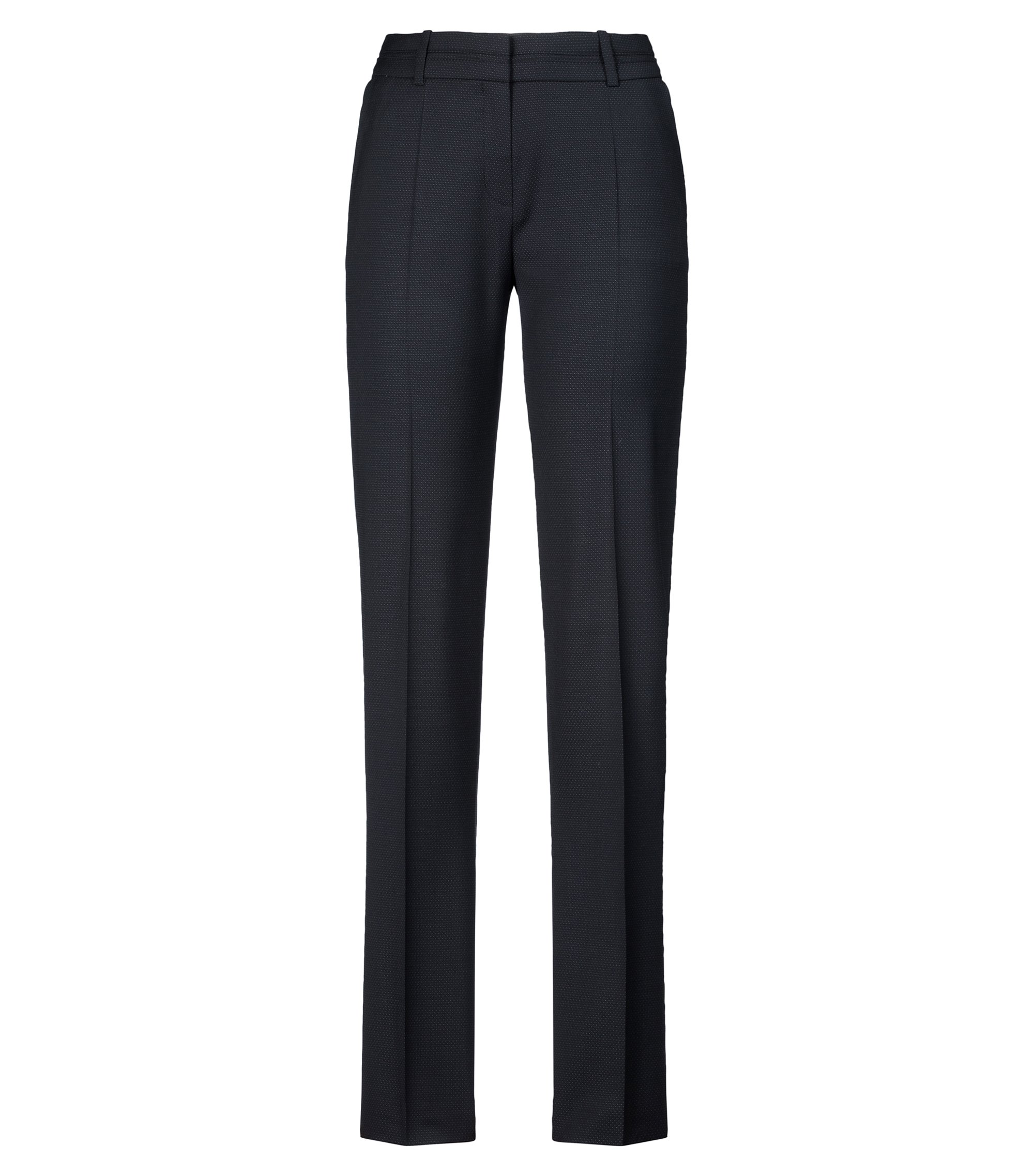 Regular-fit pants in a micro-pattern wool blend, Black
