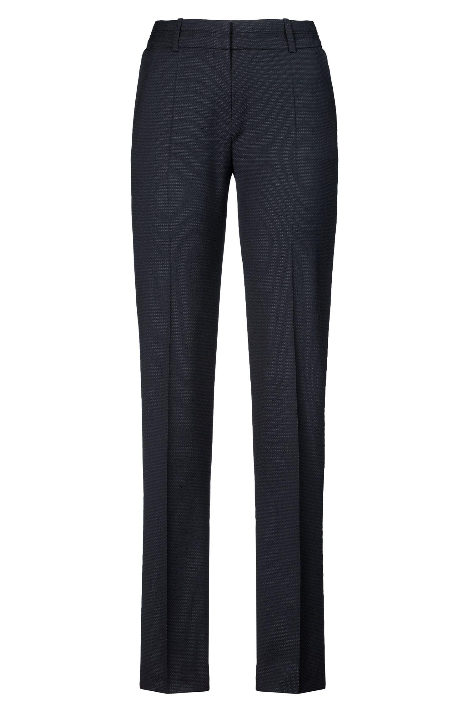 Regular-fit pants in a micro-pattern wool blend, Black