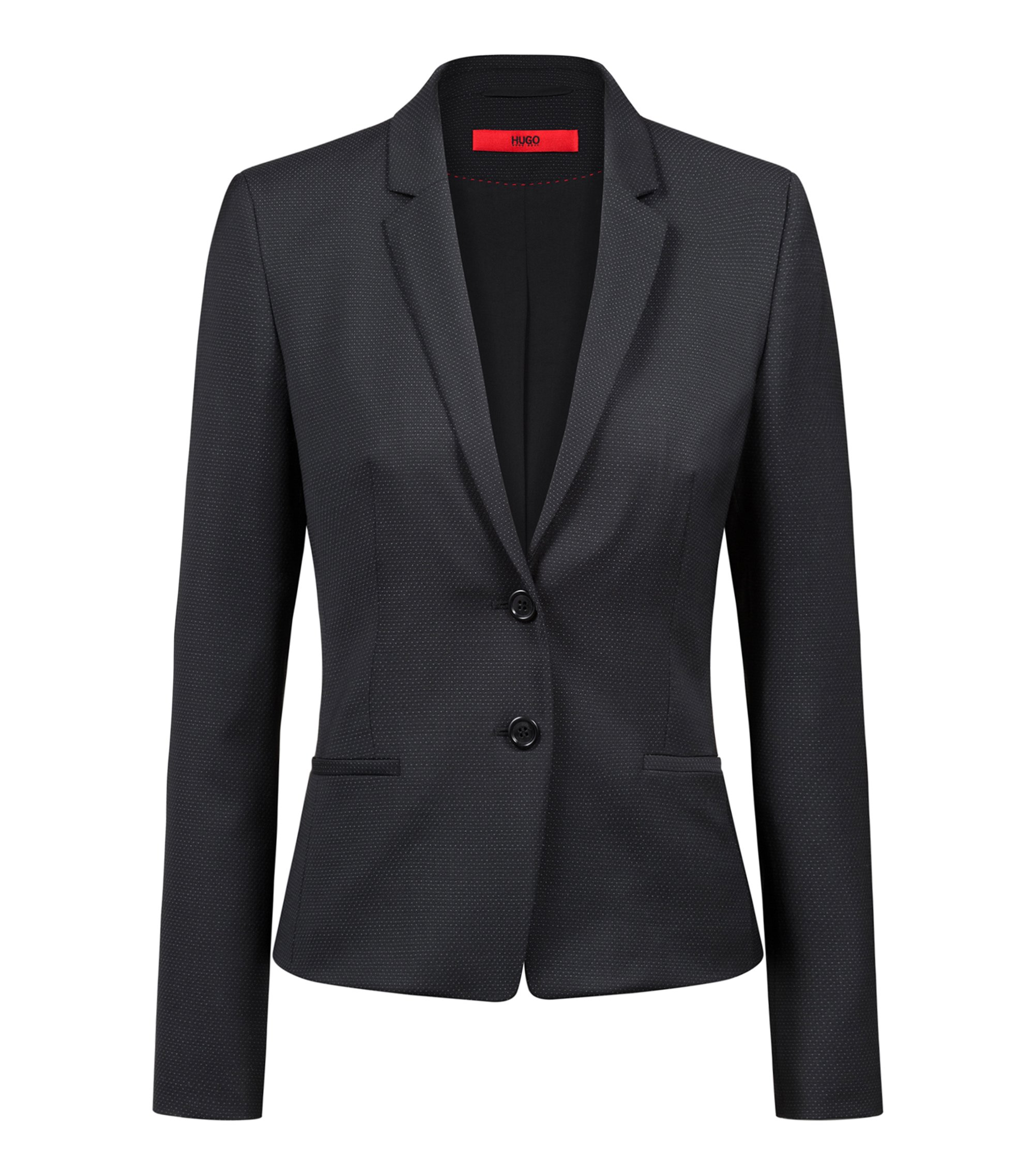 Regular-fit jacket in a micro-pattern wool blend, Black
