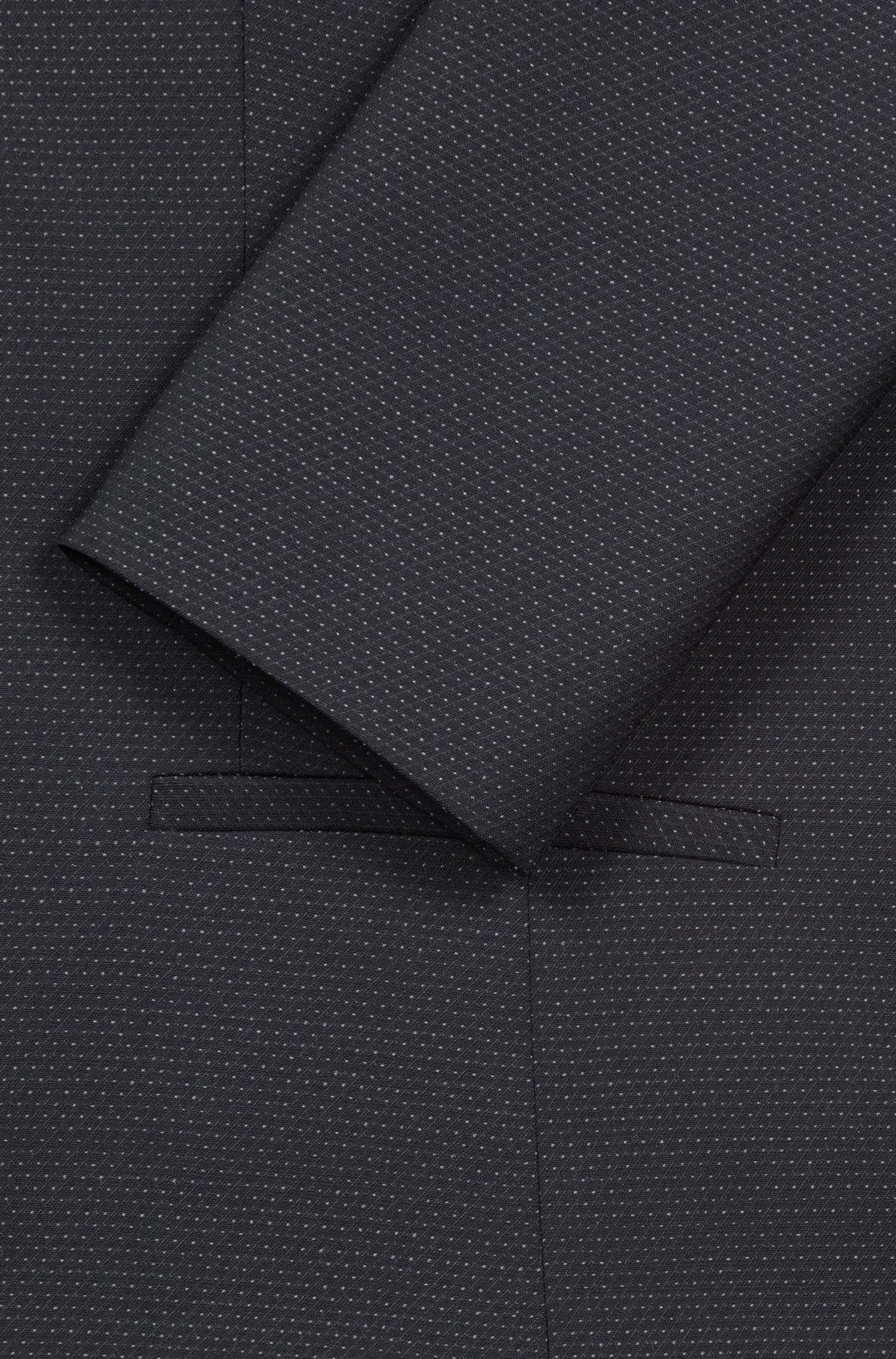 Regular-fit jacket in a micro-pattern wool blend, Black