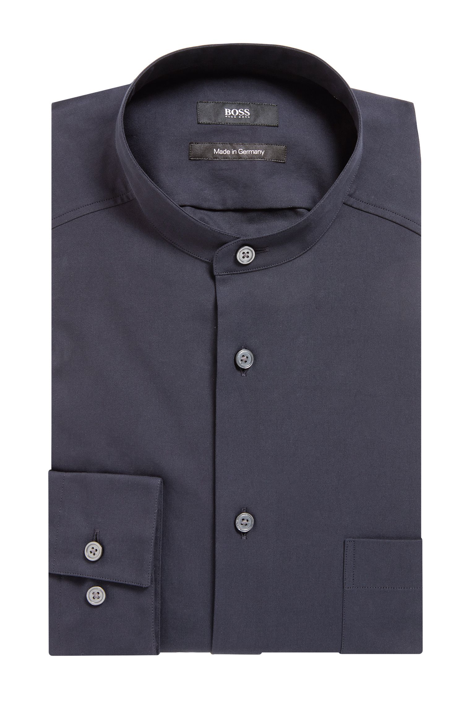 Made in Germany relaxed-fit shirt with stand collar, Dark Blue