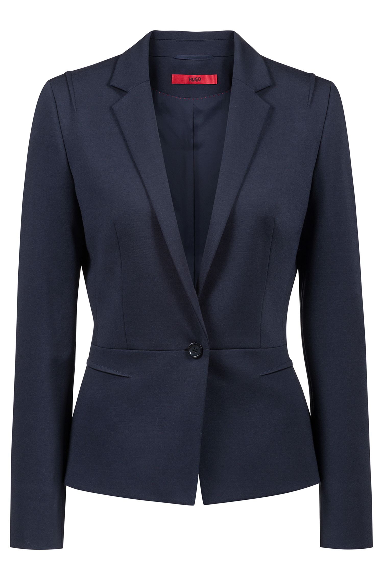 Regular-fit one-button jacket in open-cut jersey, Open Blue