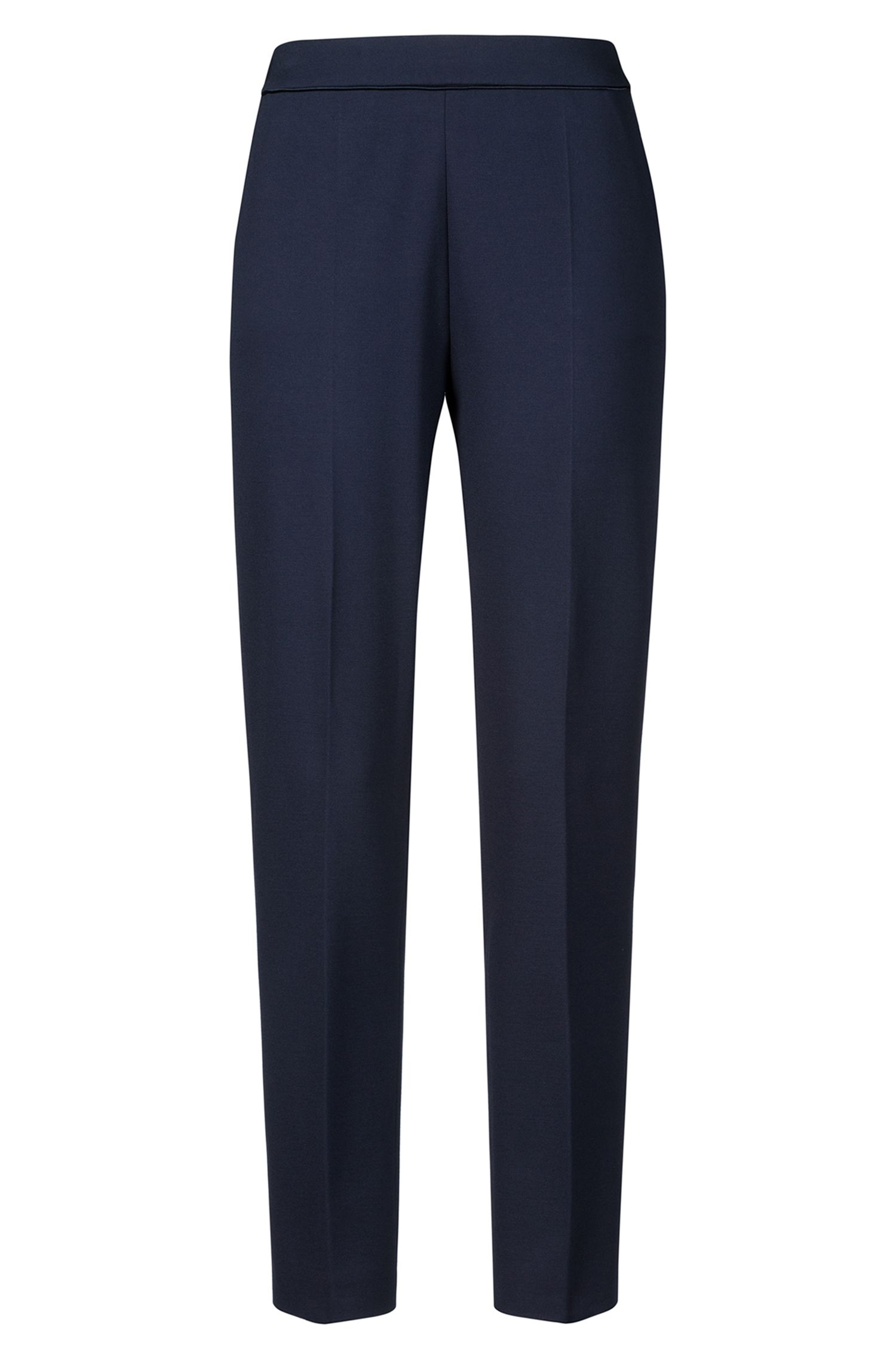Slim-fit pants in jersey with elastic waist, Open Blue