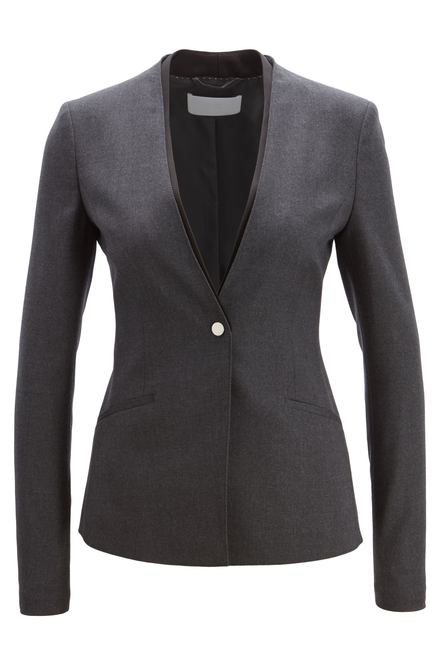 Regular-fit blazer in stretch wool with contrast neckline, Charcoal