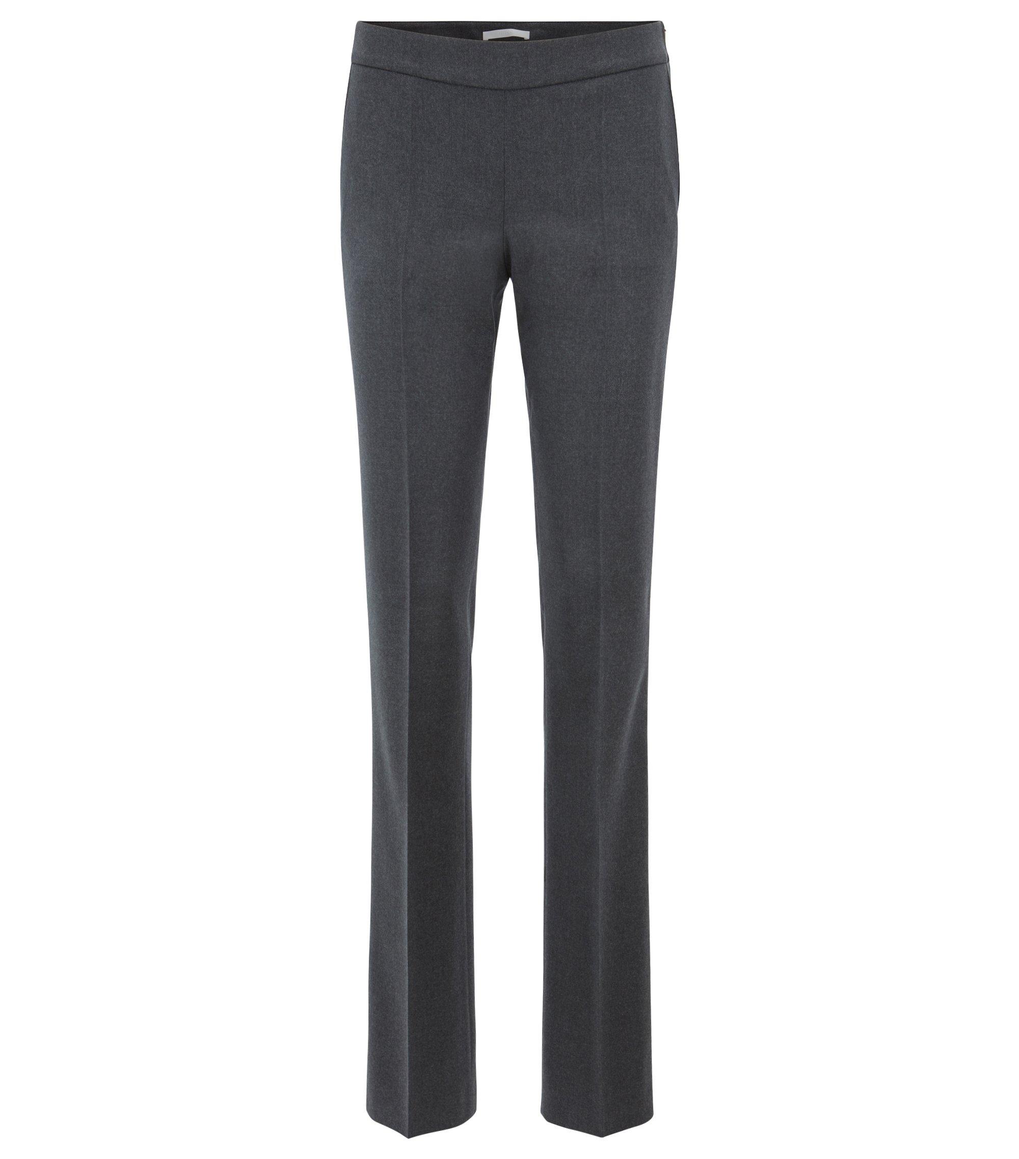 Regular-fit formal pants in melange stretch wool, Charcoal