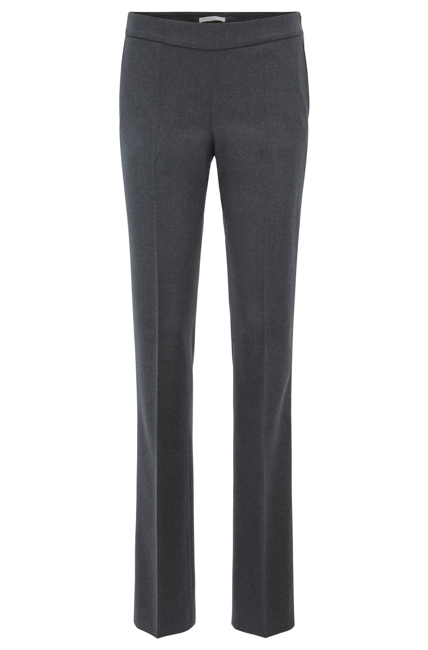Regular-fit formal pants in melange stretch wool, Charcoal