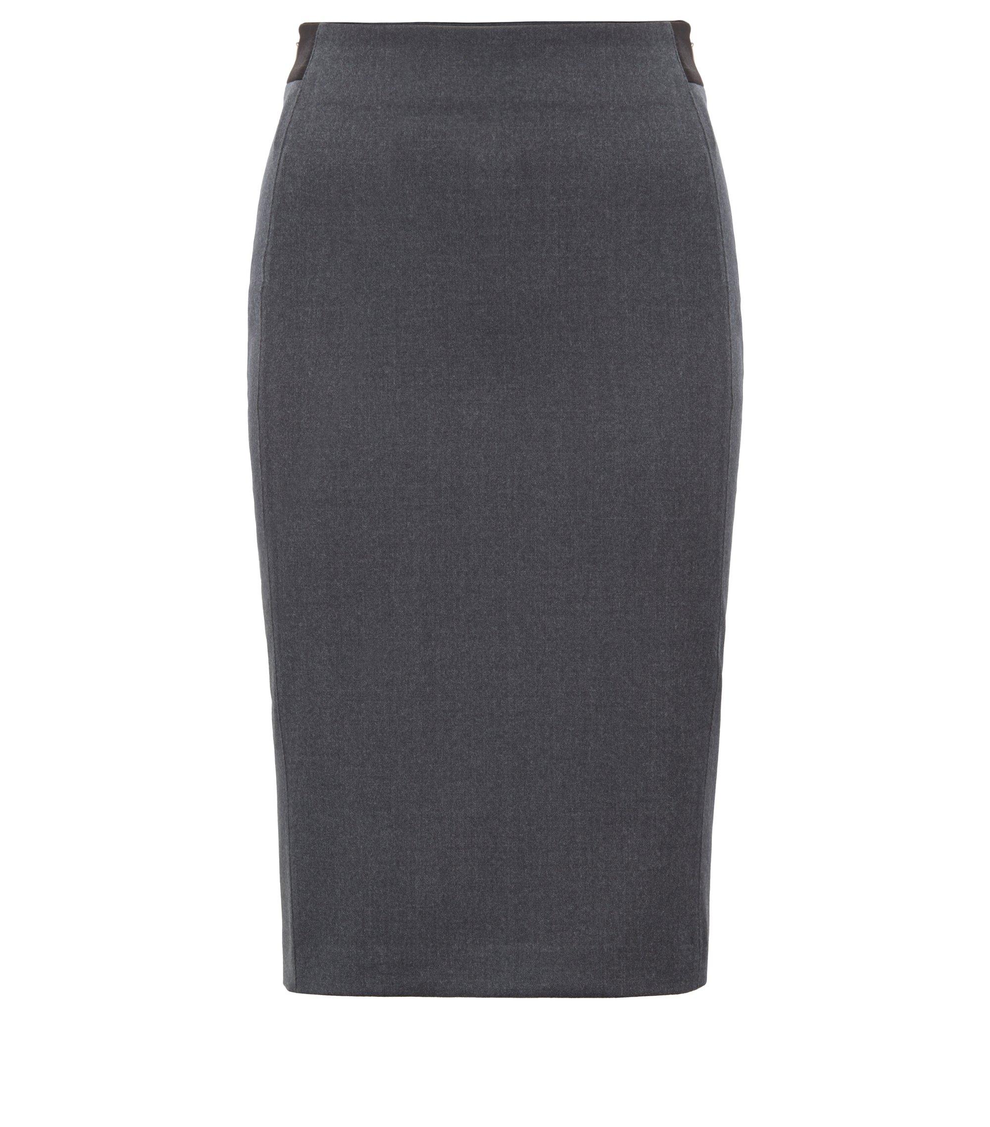 Regular-fit pencil skirt in stretch virgin wool melange, Charcoal