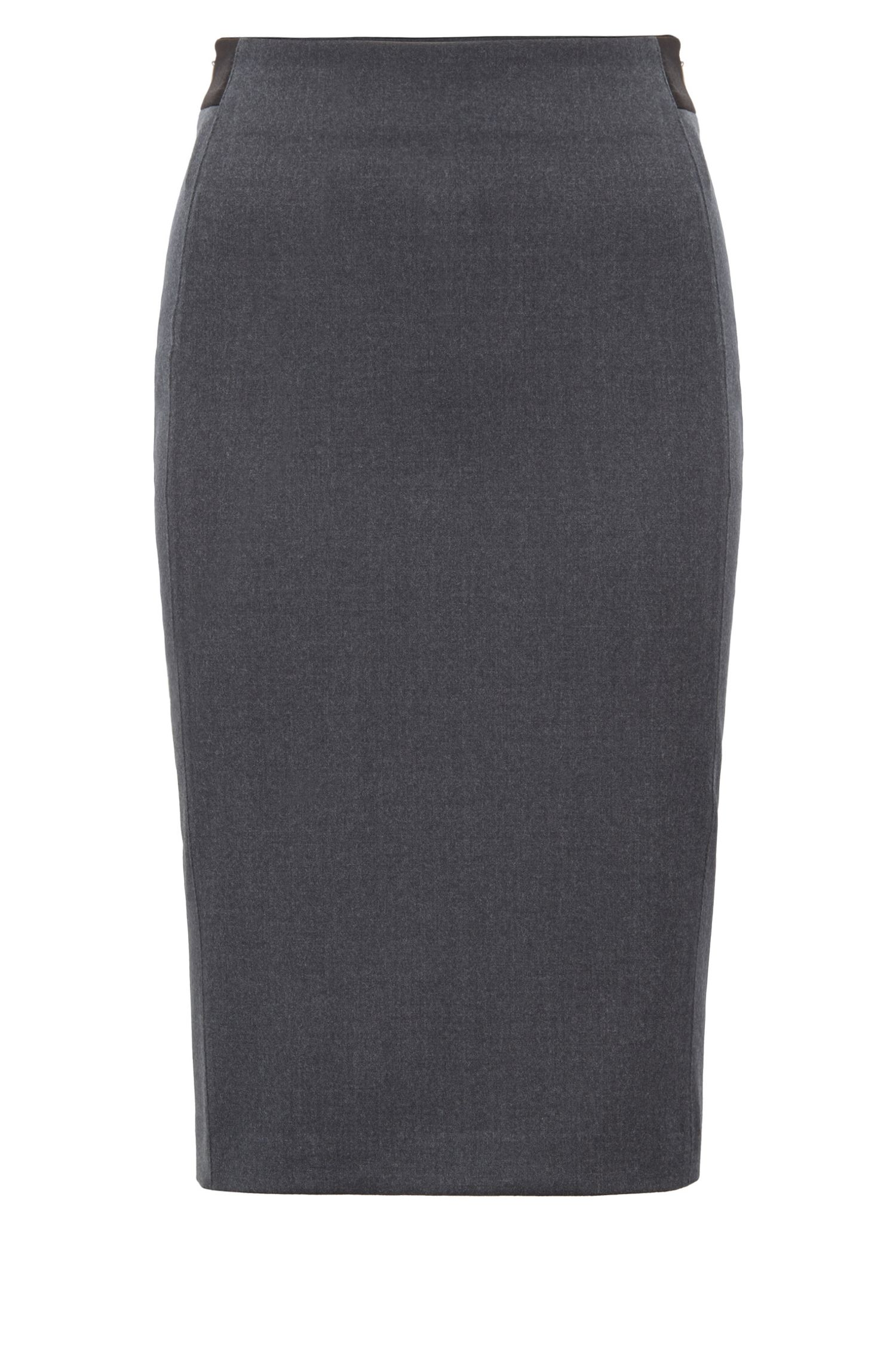 Regular-fit pencil skirt in stretch virgin wool melange, Charcoal