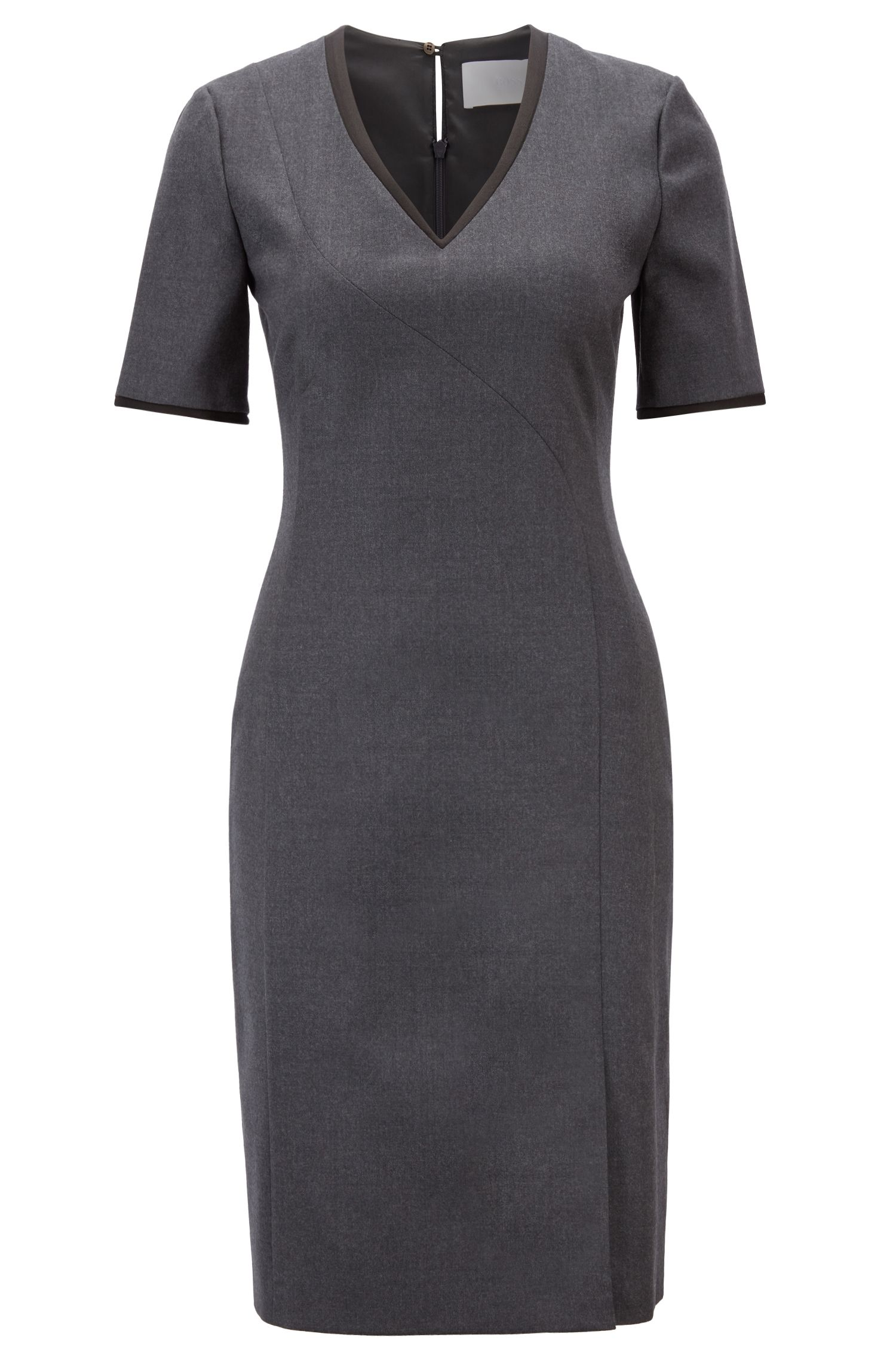 Melange V-neck dress in stretch virgin wool, Charcoal