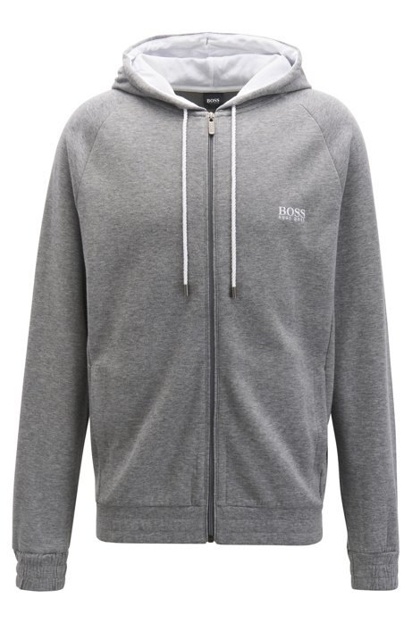 Hooded loungewear jacket in double-faced melange fabric, Grey