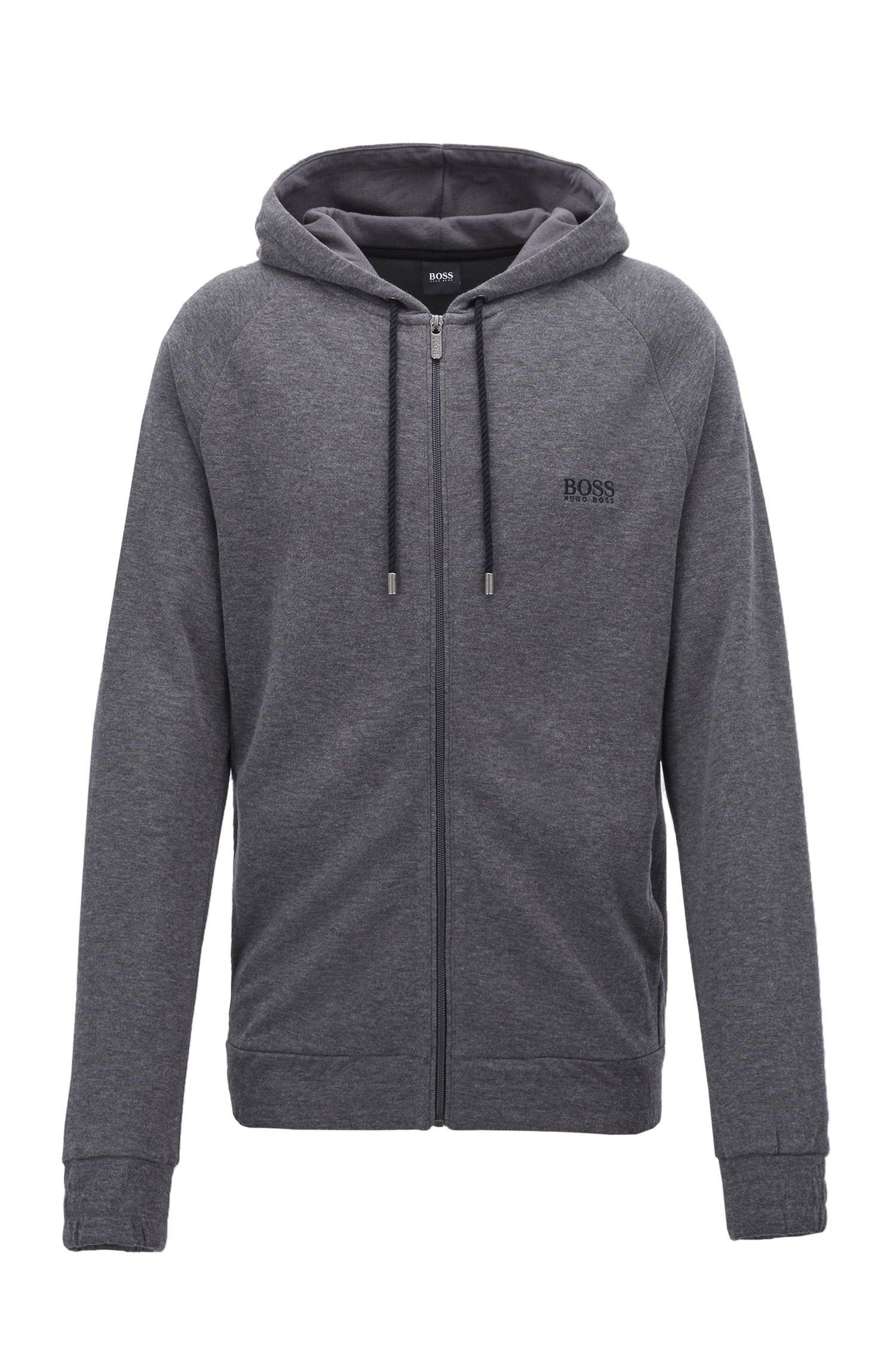 Hooded loungewear jacket in double-faced melange fabric, Grey