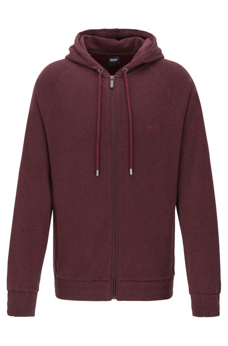 Hooded loungewear jacket in double-faced melange fabric, Dark Red
