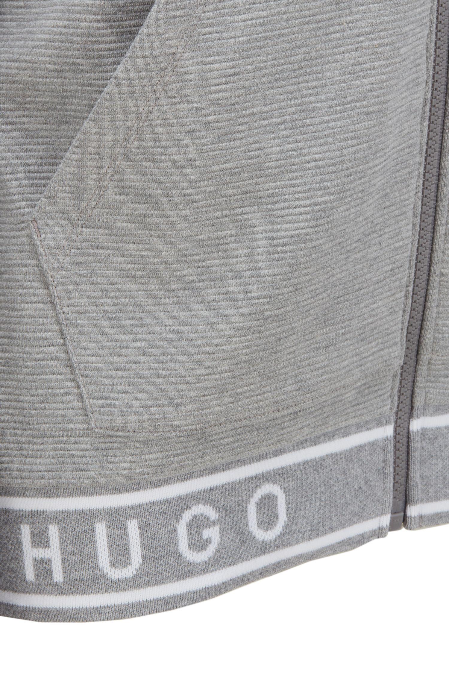 Hooded cotton loungewear jacket with contrast-logo hem, Grey