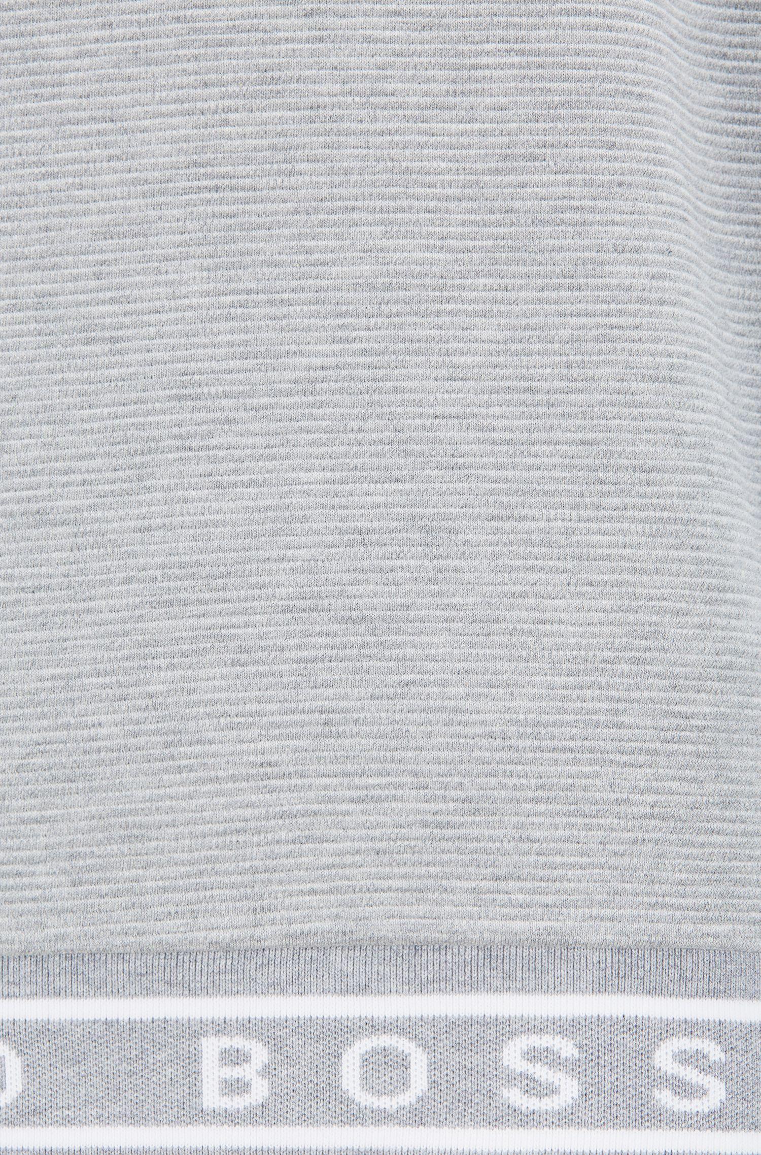 Logo-hem sweatshirt in mélange cotton interlock, Grey