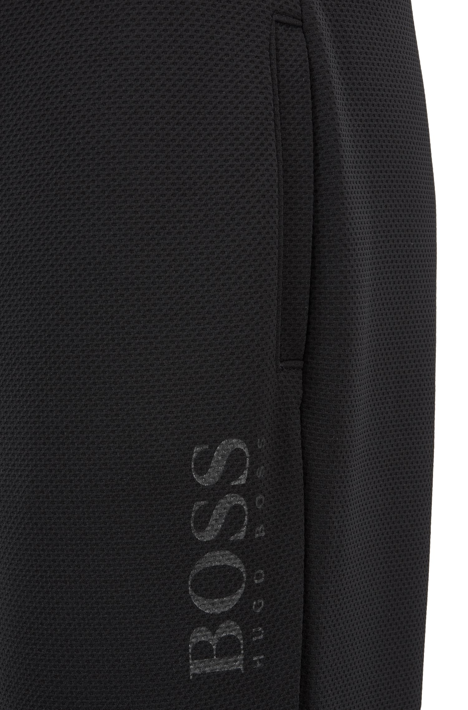 Cuffed loungewear pants in piqué fabric, Black