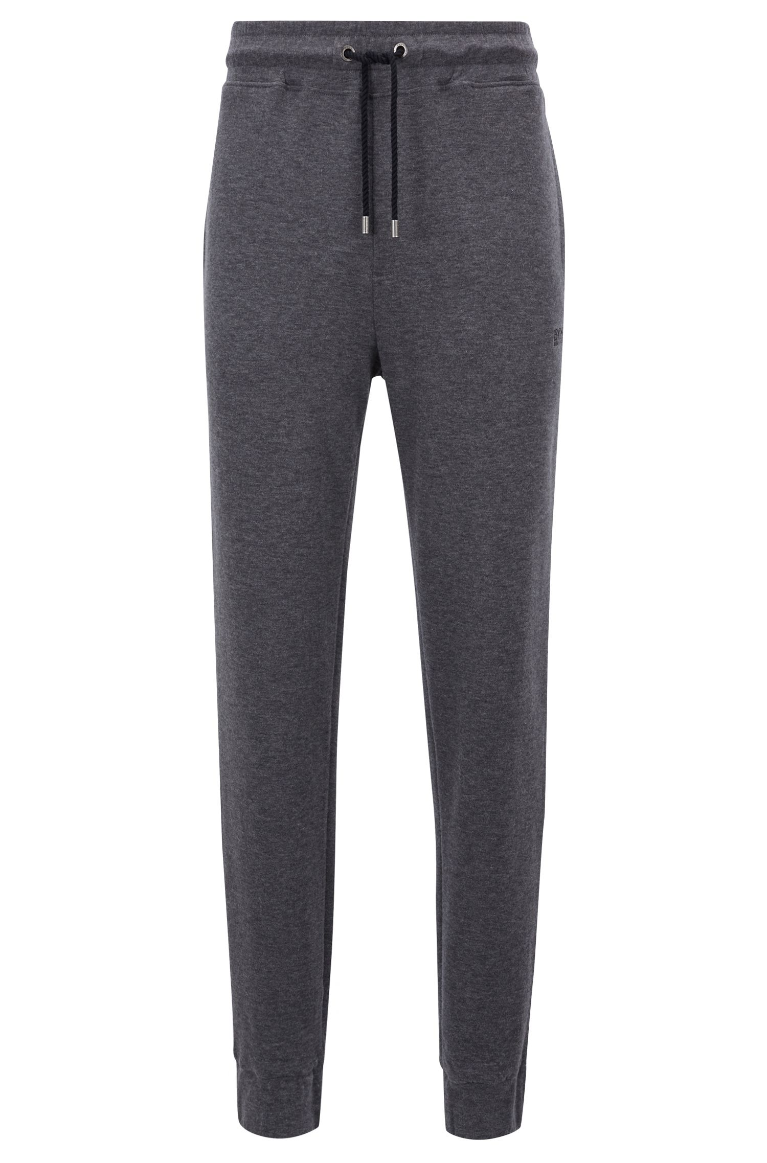 Cuffed loungewear pants in double-faced melange fabric, Grey